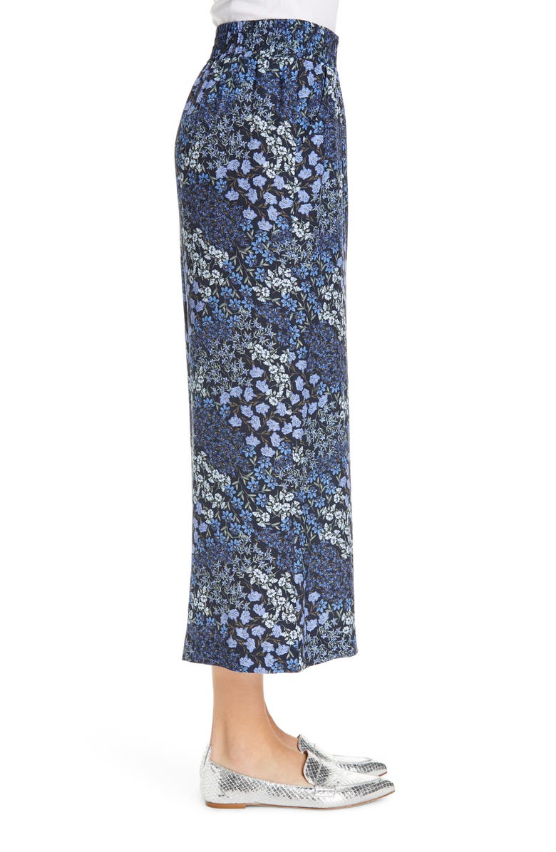 Rebecca Taylor Floral Wide Leg Crop Silk Pants In Navy Combo