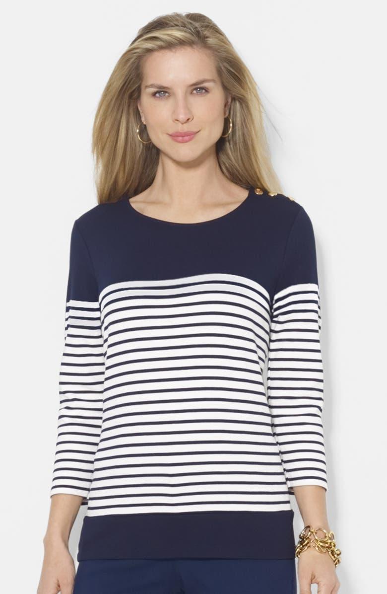 de11e134 Lauren Ralph Lauren Button Shoulder Stripe Top (Petite) | Nordstrom