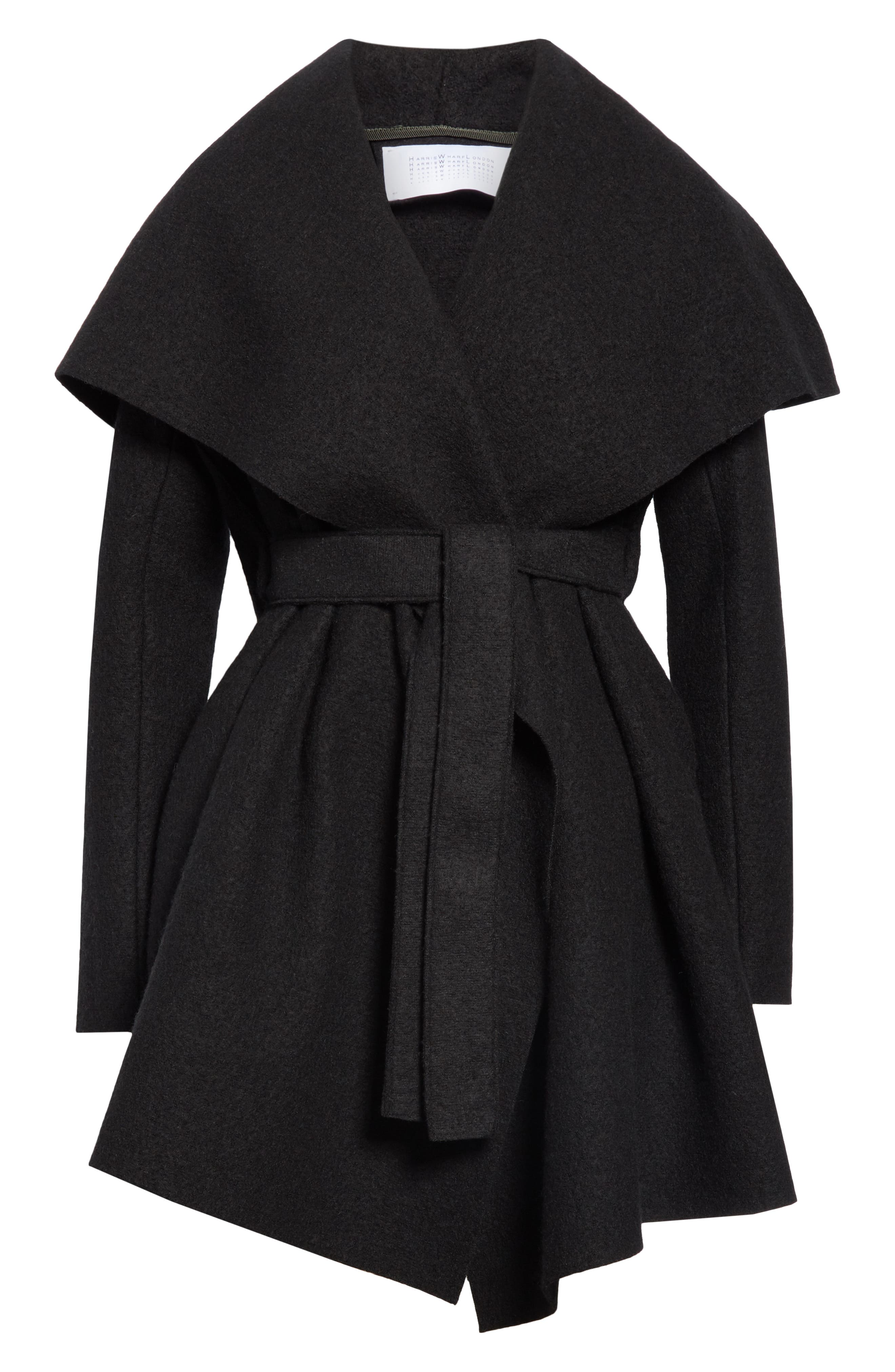 HARRIS WHARF LONDON, Belted Wool Coat, Alternate thumbnail 6, color, BLACK