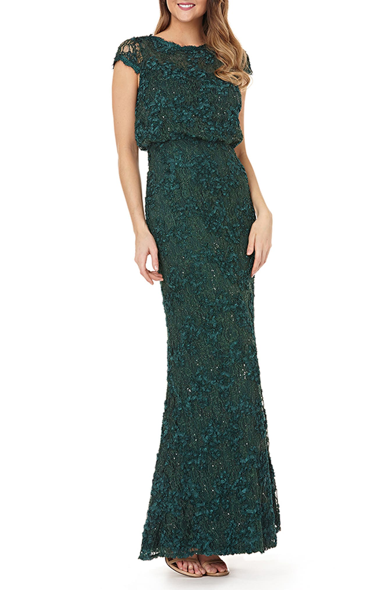 JS COLLECTIONS Sequin Lace Blouson Gown, Main, color, GREEN