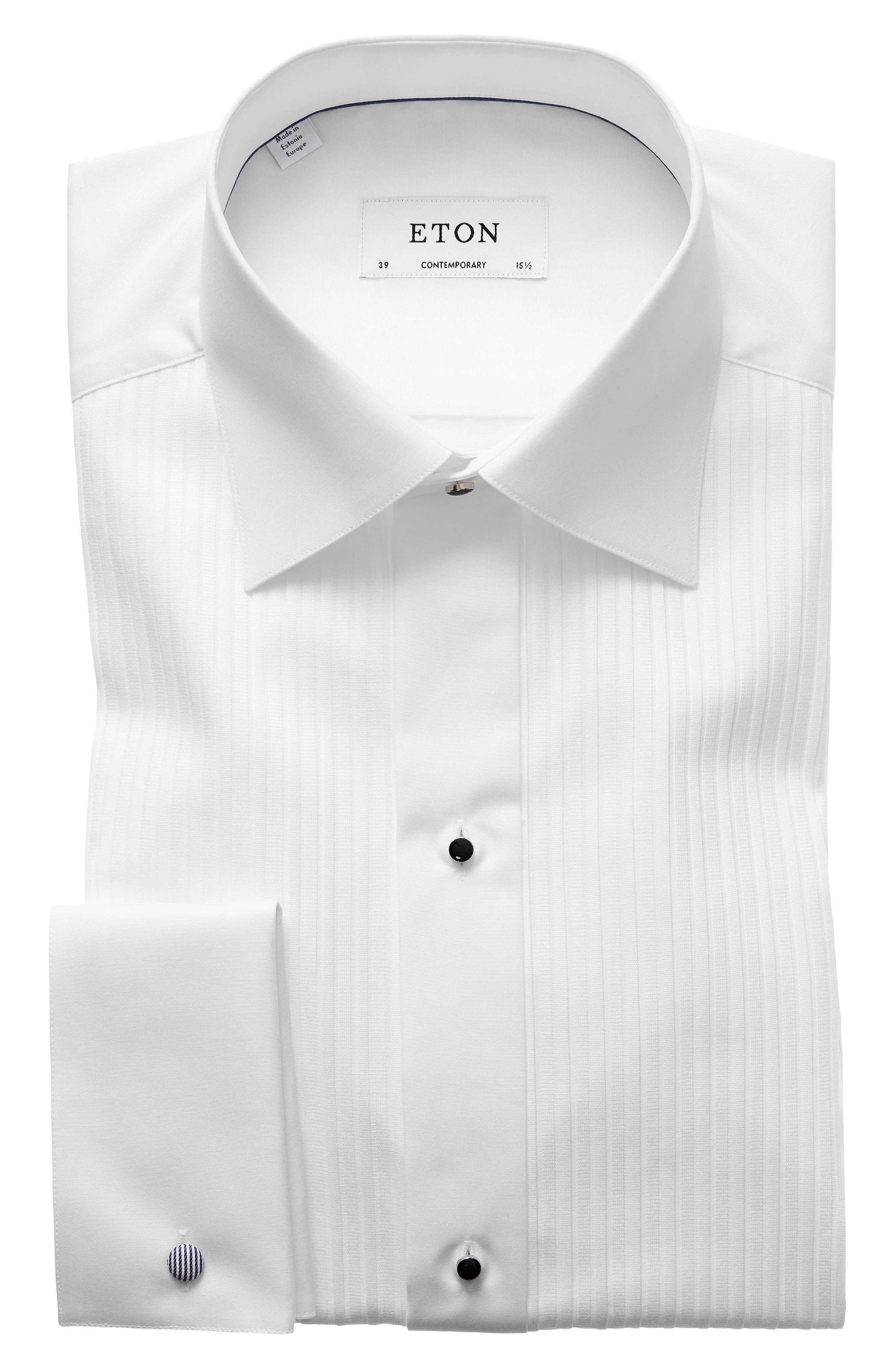 ETON Contemporary Fit Pleated Bib Tuxedo Shirt, Main, color, WHITE