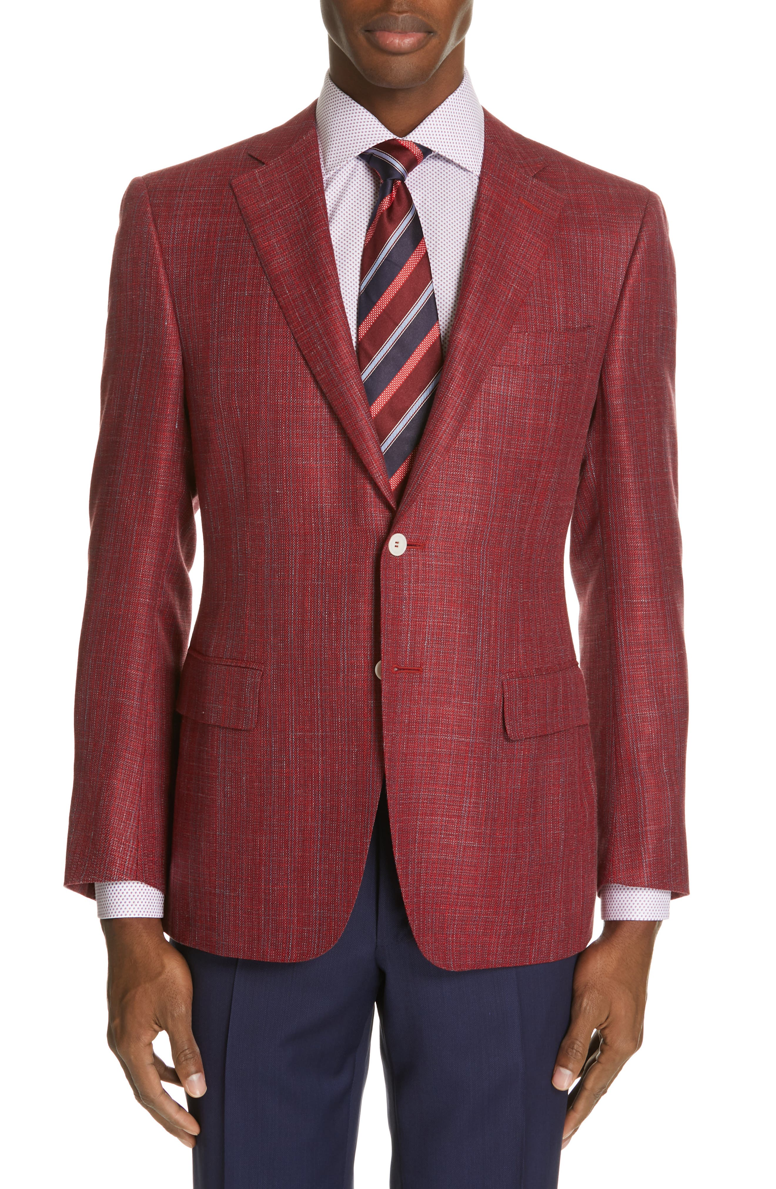 CANALI, Siena Classic Fit Wool, Silk & Linen Blend Sport Coat, Main thumbnail 1, color, RED