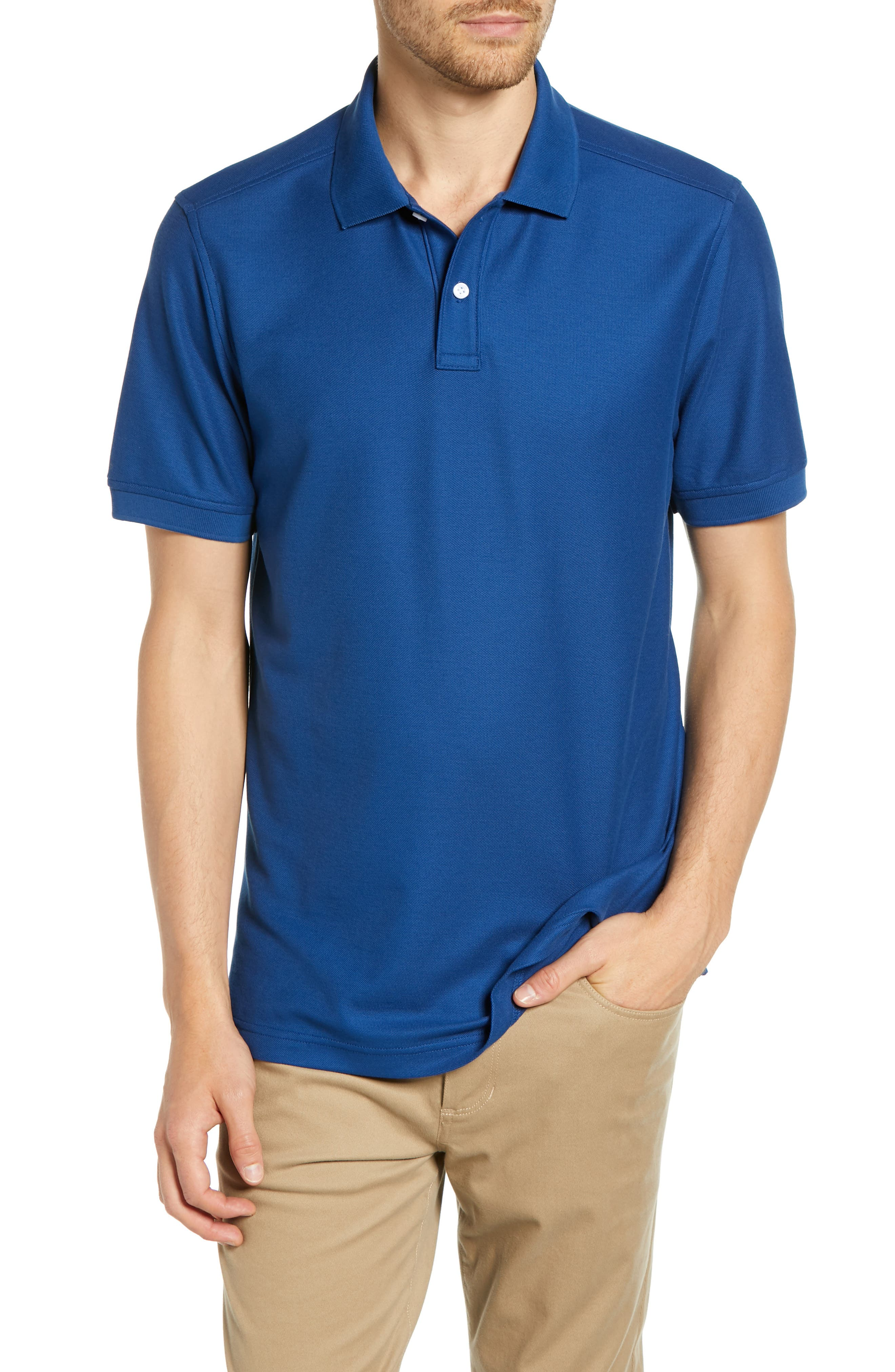 NORDSTROM MEN'S SHOP, Regular Fit Piqué Polo, Main thumbnail 1, color, BLUE CASPIA