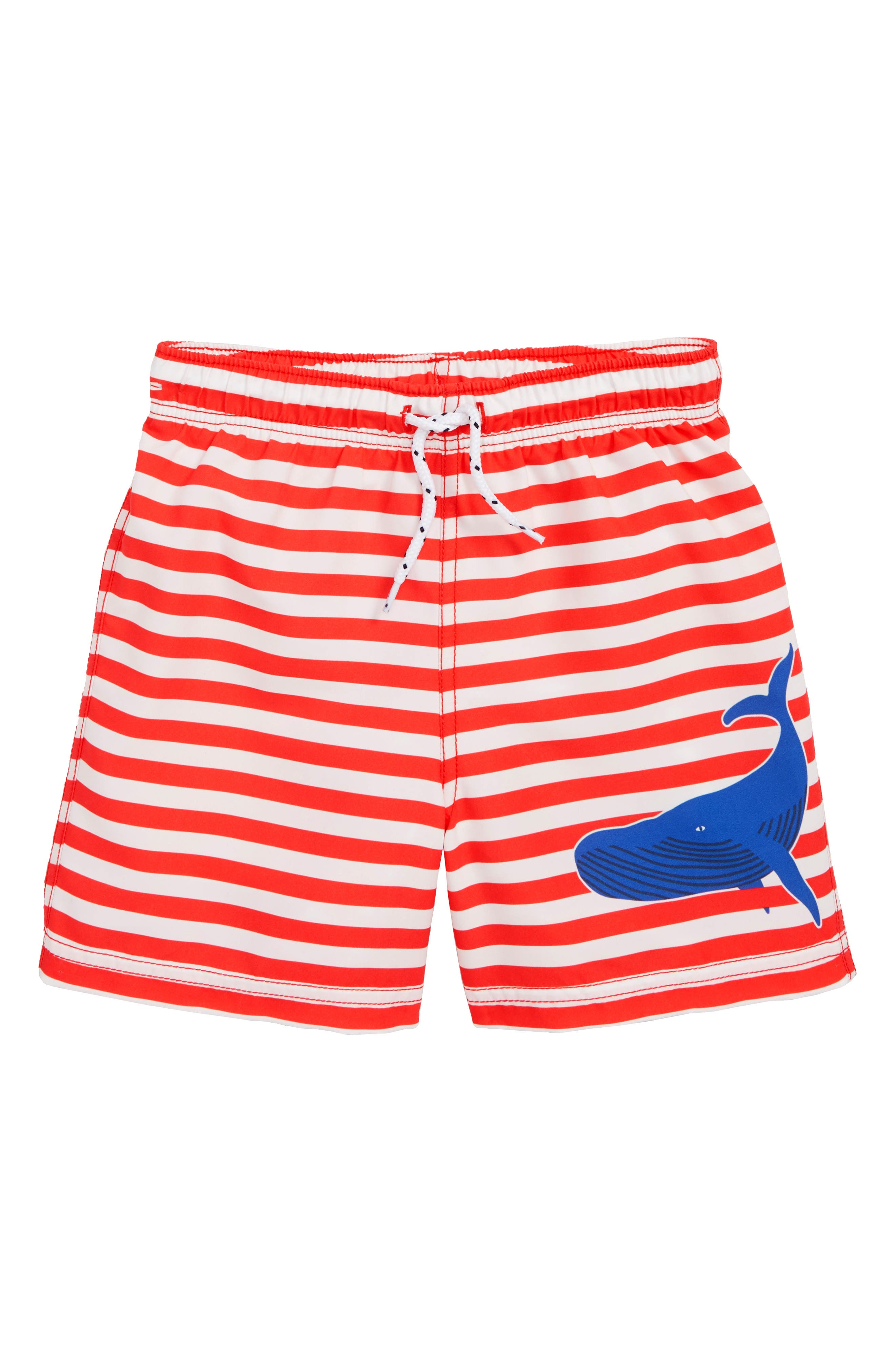 MINI BODEN Bathers Stripe Swim Trunks, Main, color, BEAM RED/ IVORY