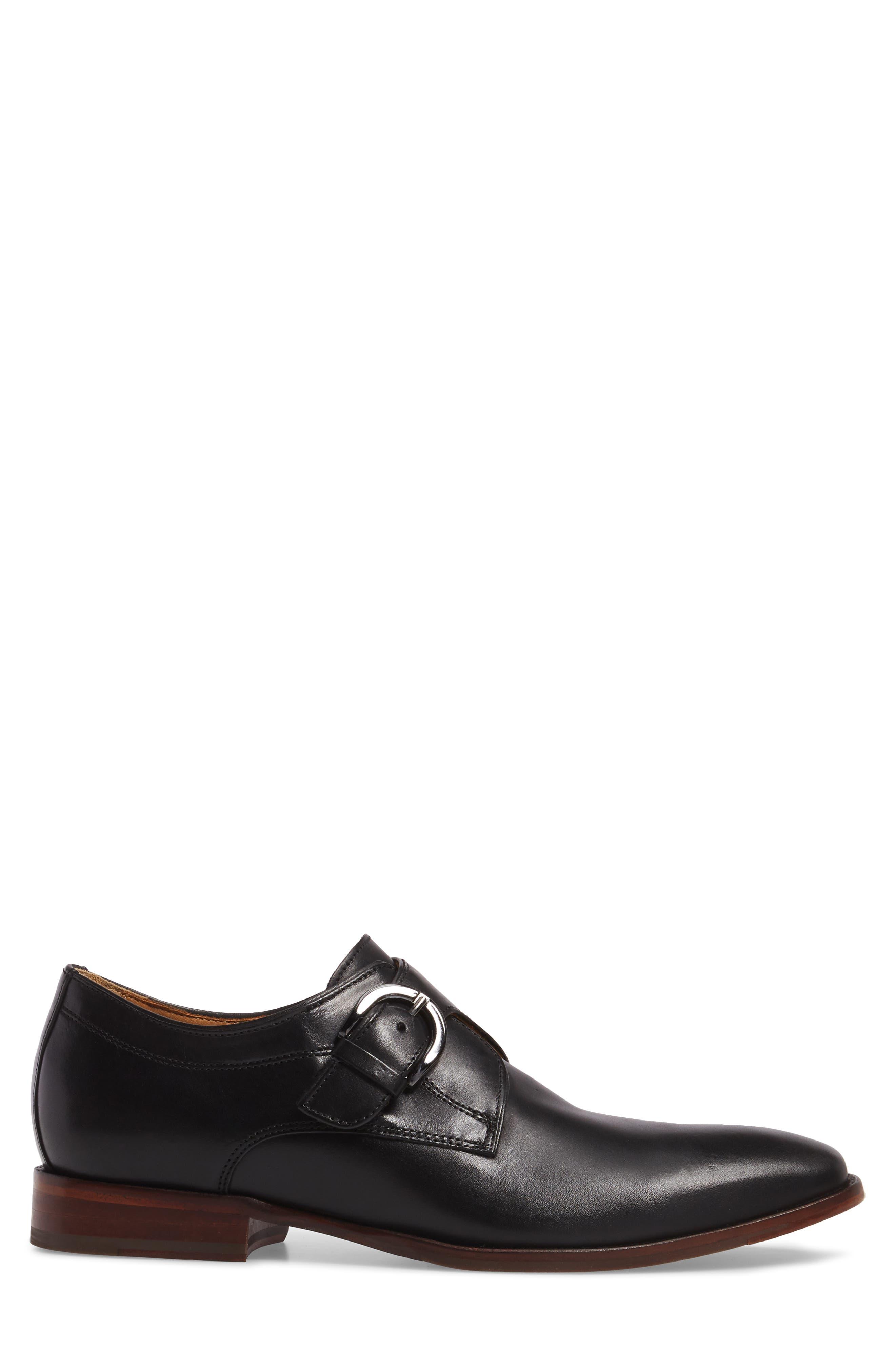 JOHNSTON & MURPHY, McClain Monk Strap Shoe, Alternate thumbnail 3, color, BLACK