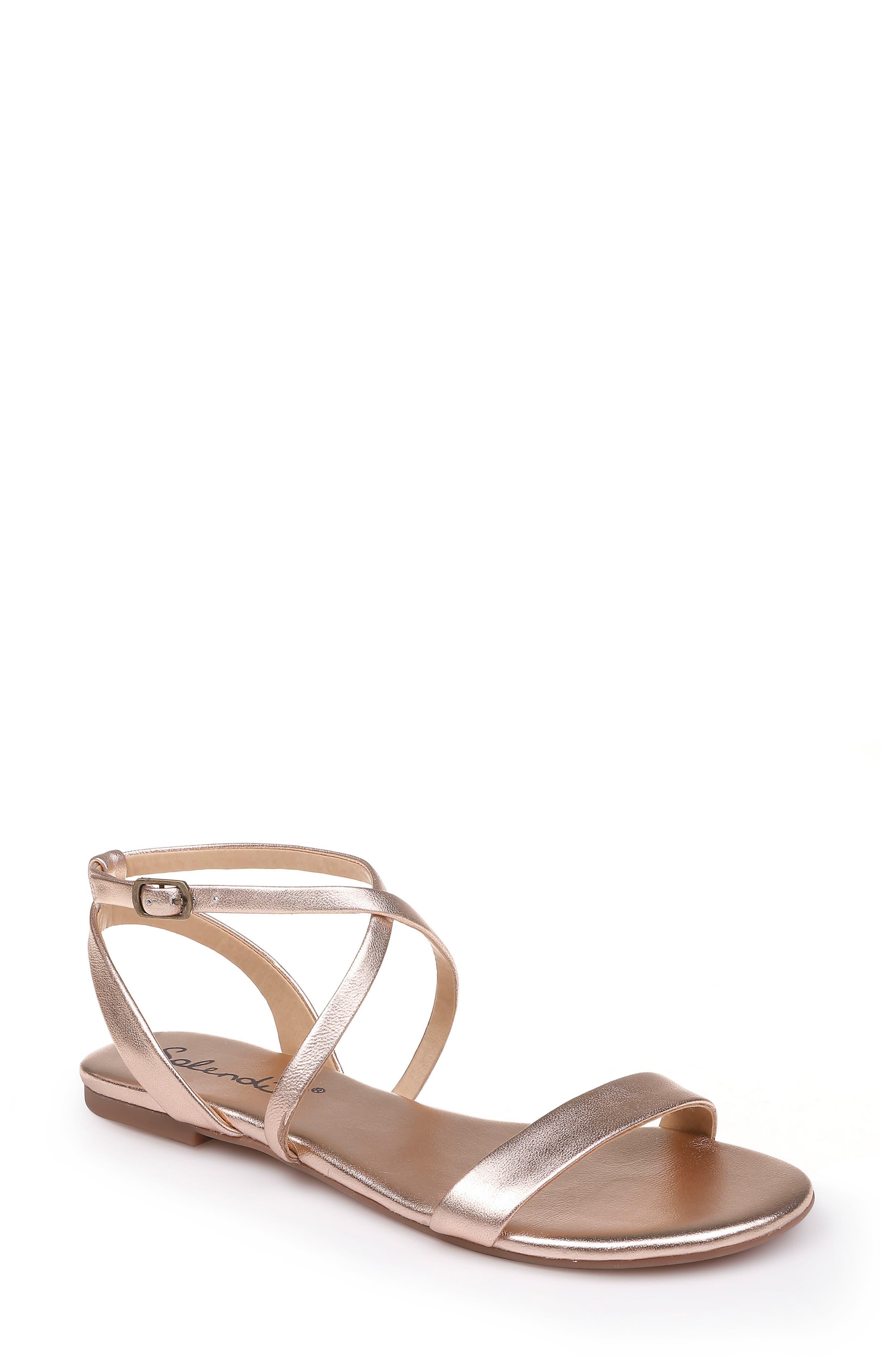 SPLENDID Susannah Strappy Sandal, Main, color, ROSE GOLD LEATHER