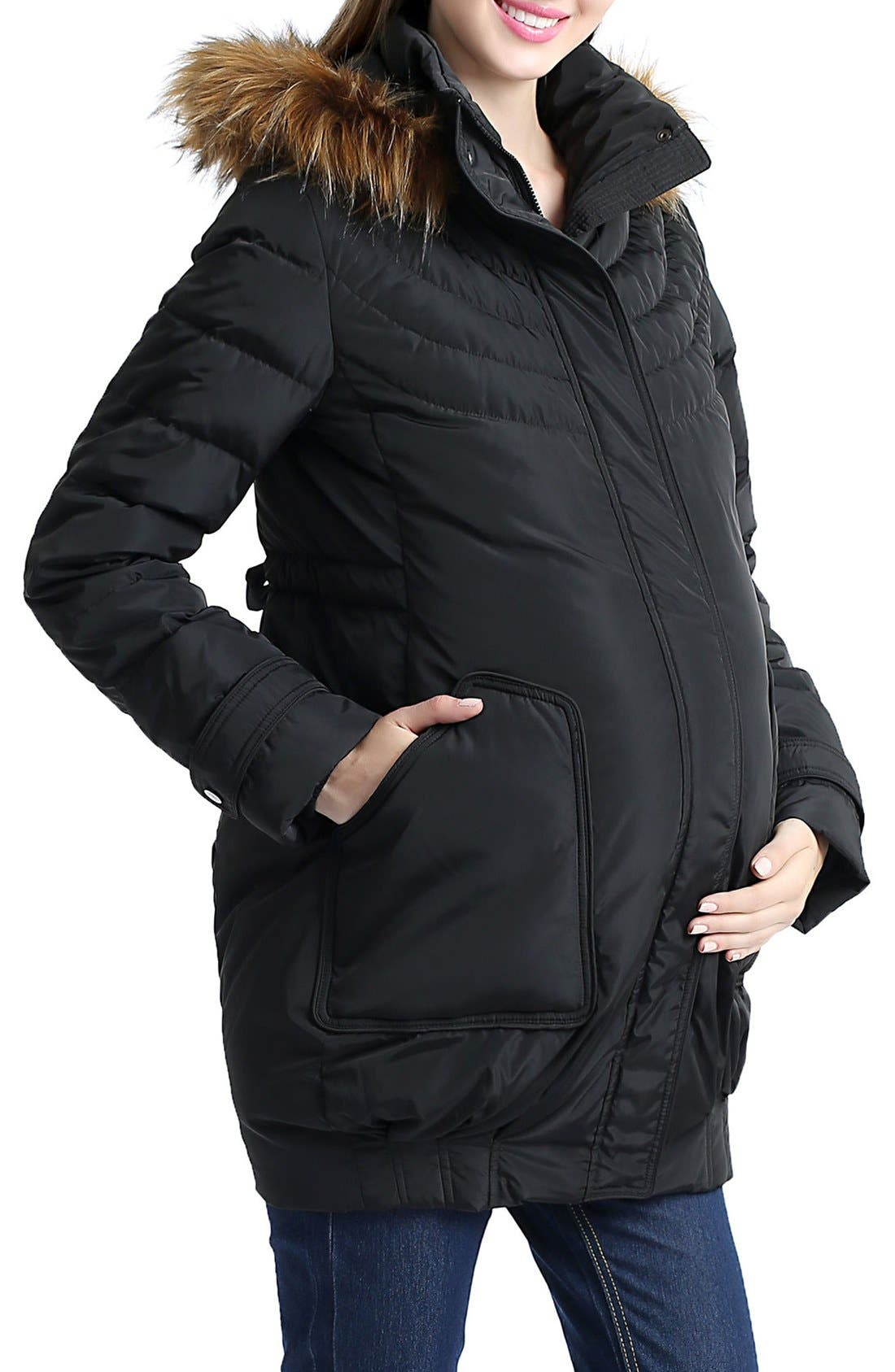 KIMI AND KAI, 'Arlo' Water Resistant Down Maternity Parka with Baby Carrier Cover Inset, Alternate thumbnail 2, color, BLACK