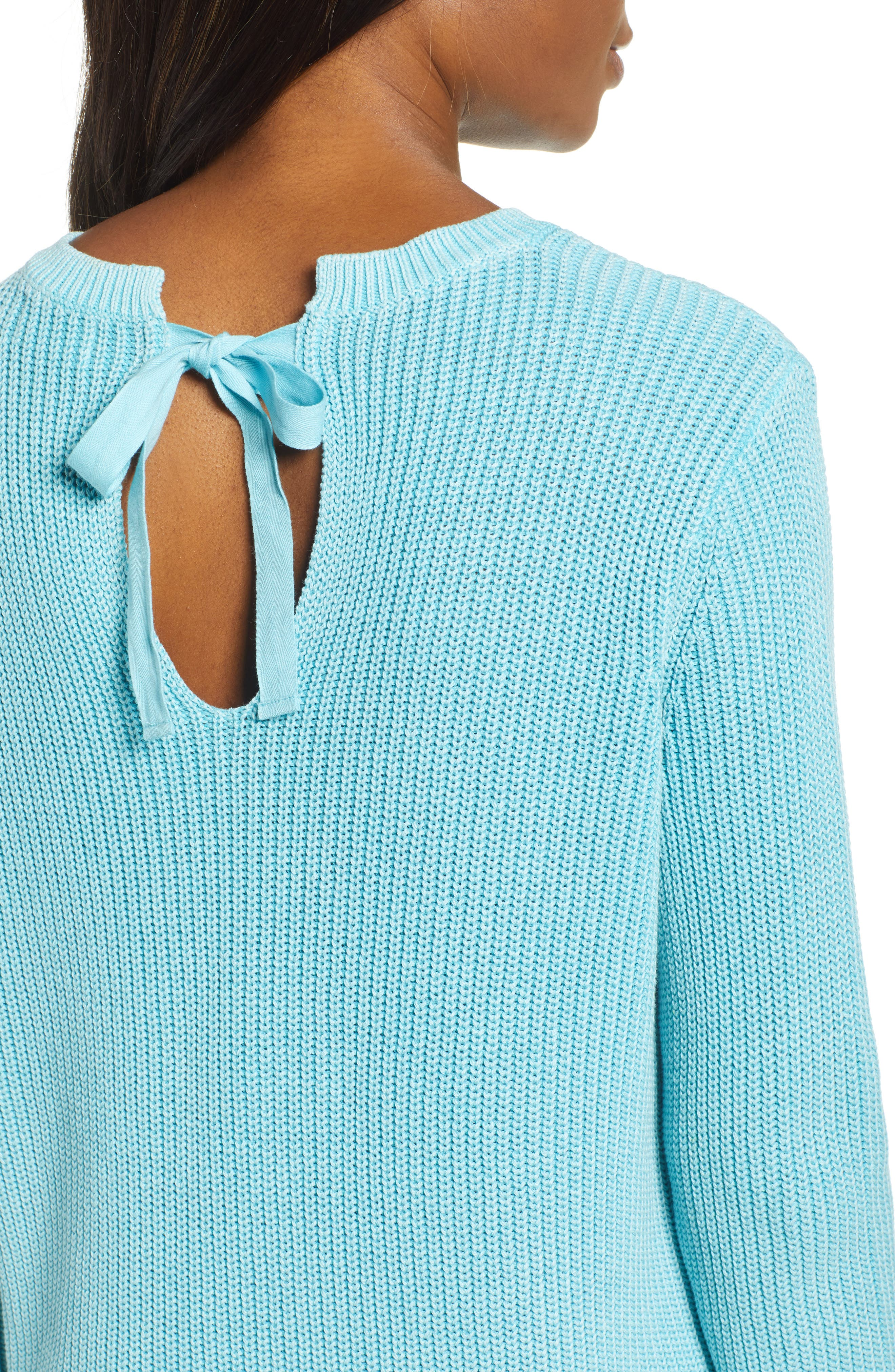 CASLON<SUP>®</SUP>, Tie Back Tunic Sweater, Alternate thumbnail 4, color, BLUE MAUI