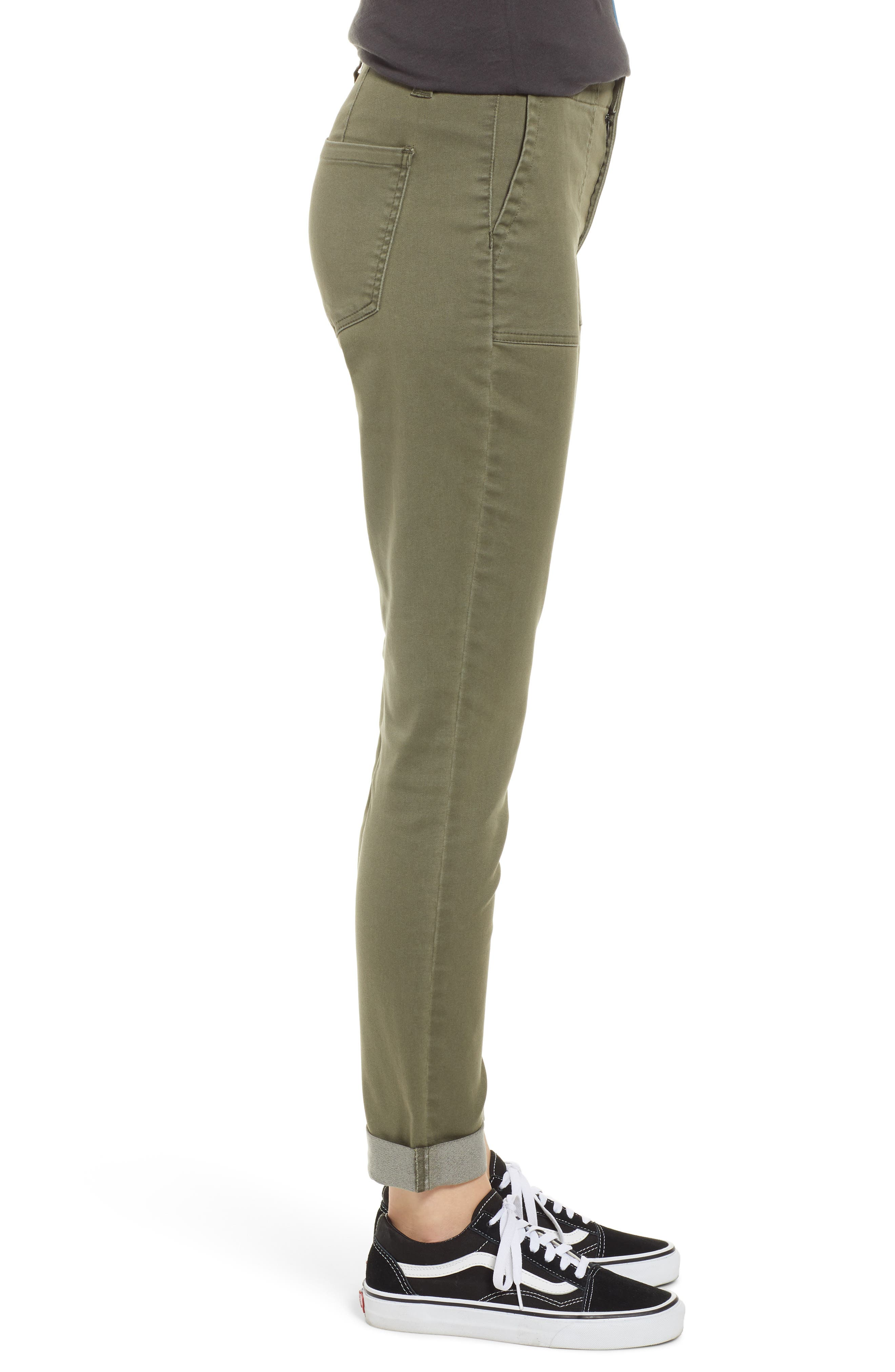 TINSEL, Cuffed Sateen Skinny Pants, Alternate thumbnail 4, color, DUSTY OLIVE