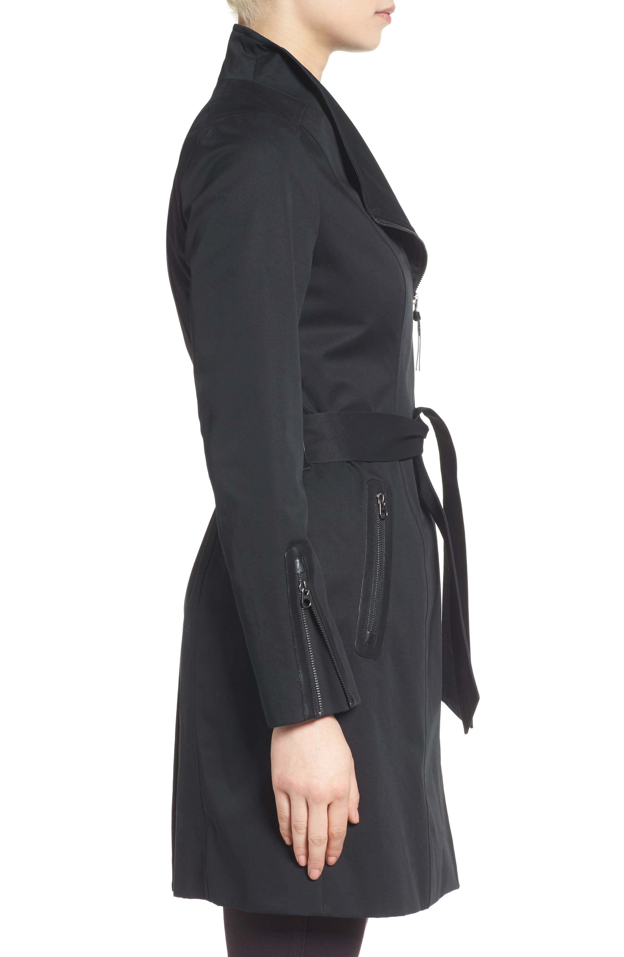 MACKAGE, Estela Belted Long Trench Coat, Alternate thumbnail 3, color, 001