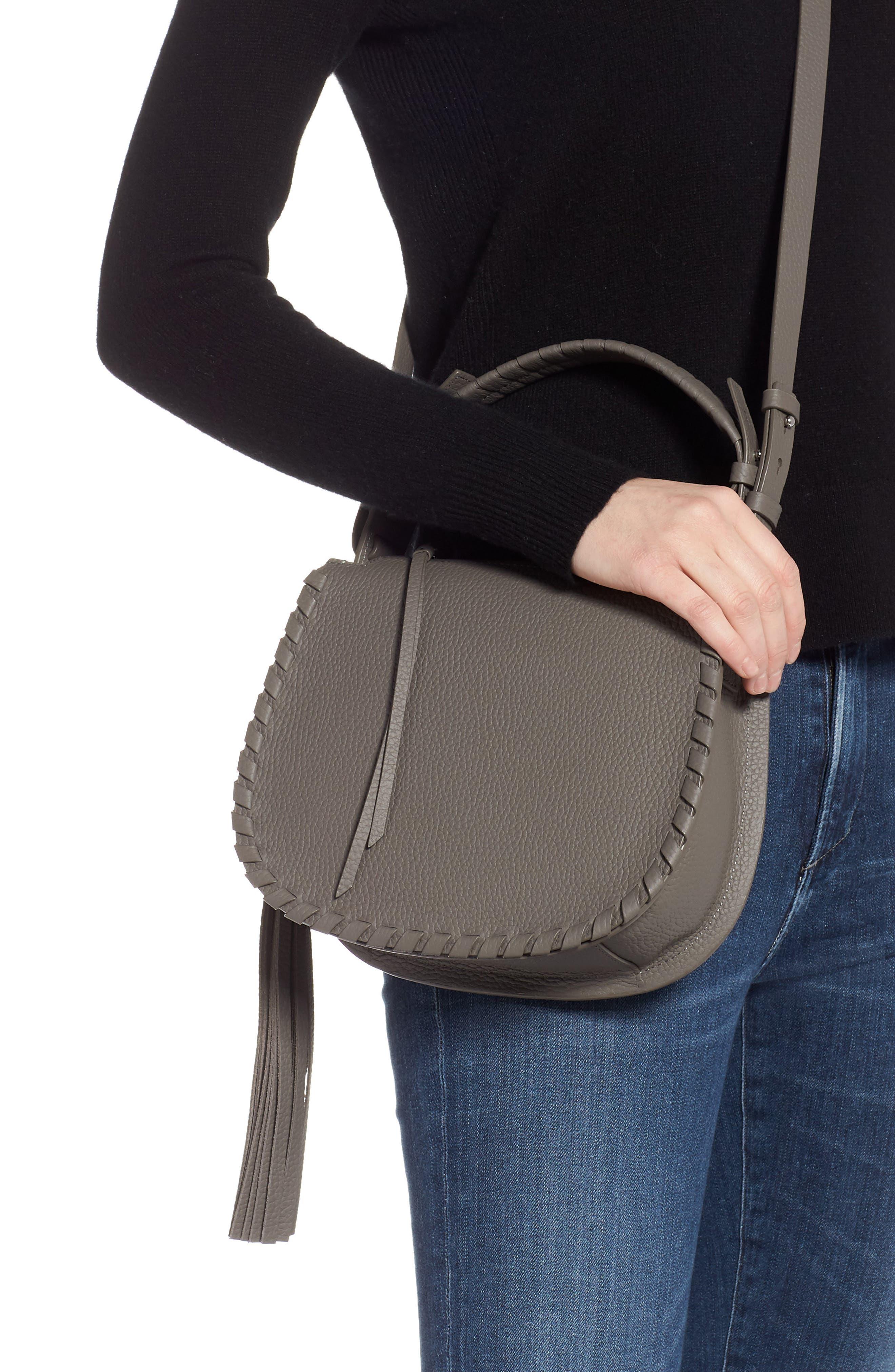 ALLSAINTS, Mori Leather Crossbody Bag, Alternate thumbnail 2, color, STORM GREY