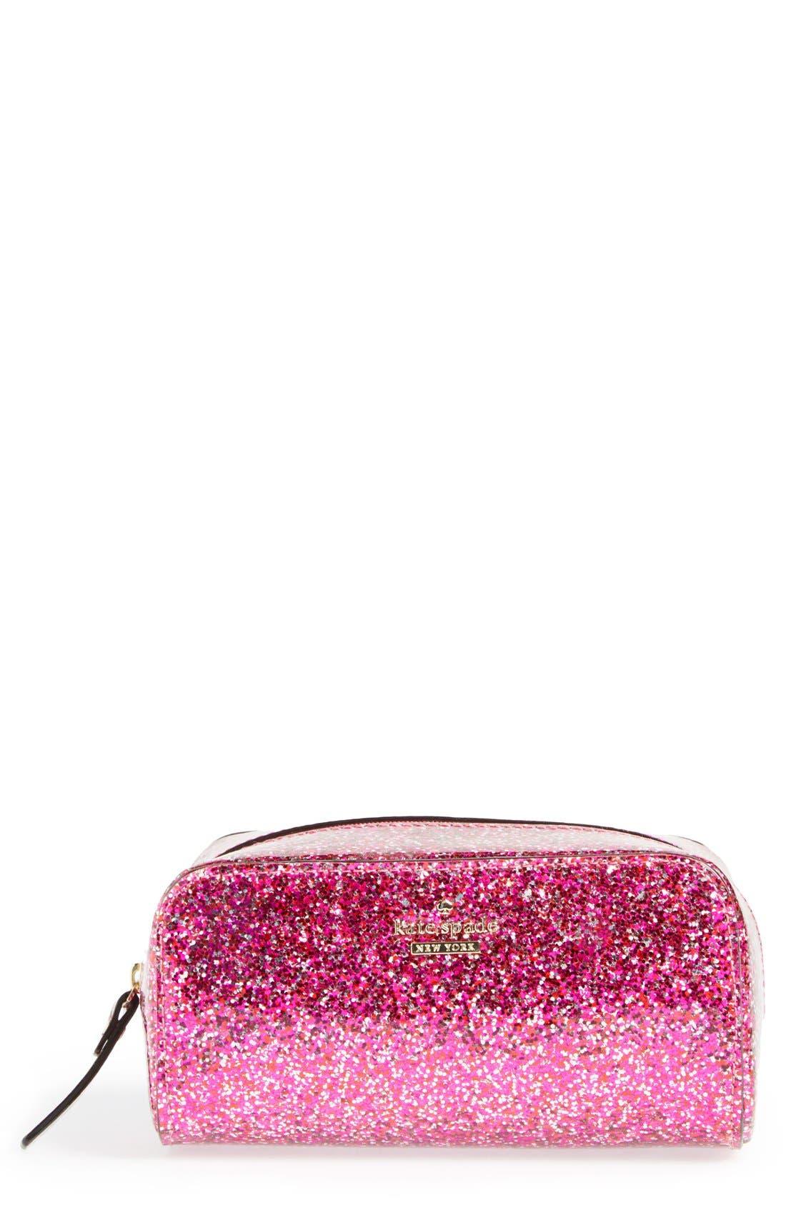 KATE SPADE NEW YORK 'glitter bug - ezra' cosmetics case, Main, color, 600