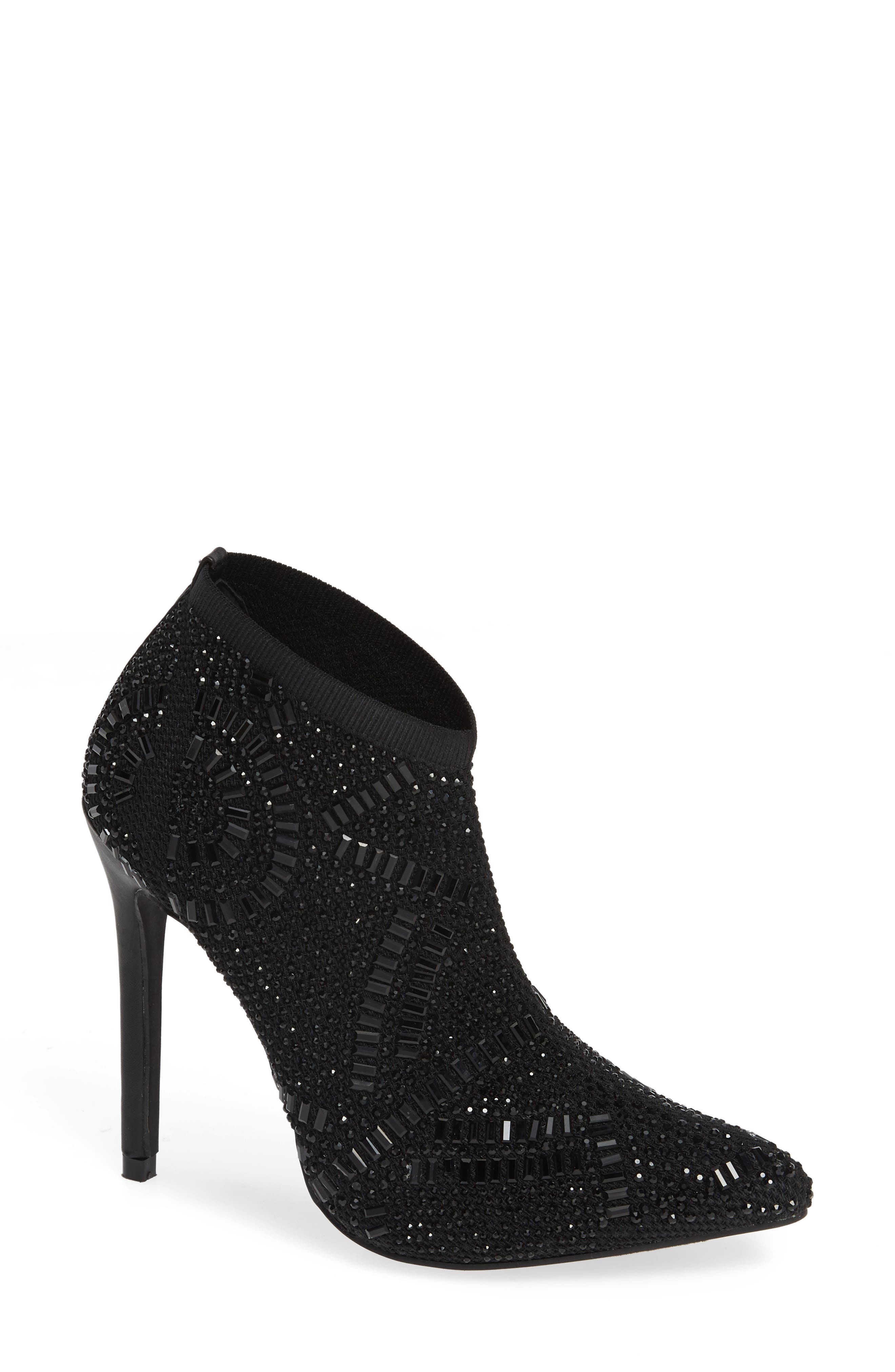 LAUREN LORRAINE, Sarah Crystal Embellished Bootie, Main thumbnail 1, color, BLACK FABRIC