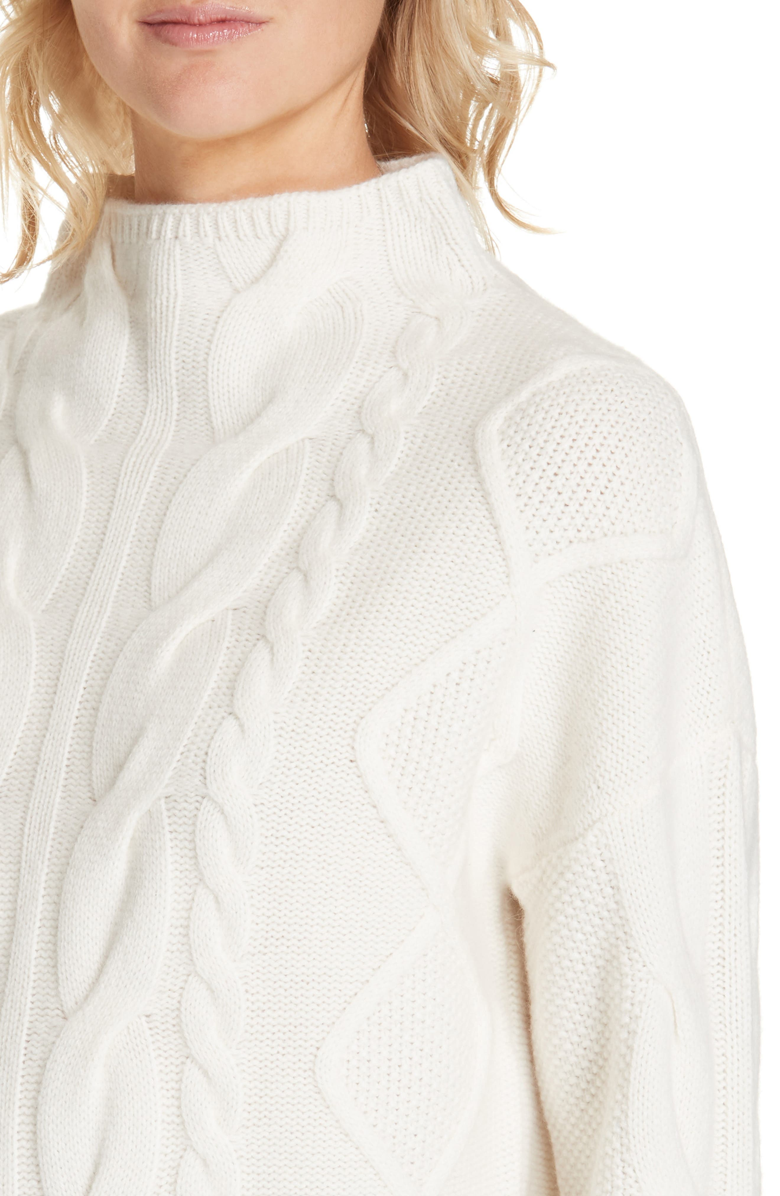 NORDSTROM SIGNATURE, Cable Cashmere Sweater, Alternate thumbnail 4, color, 900