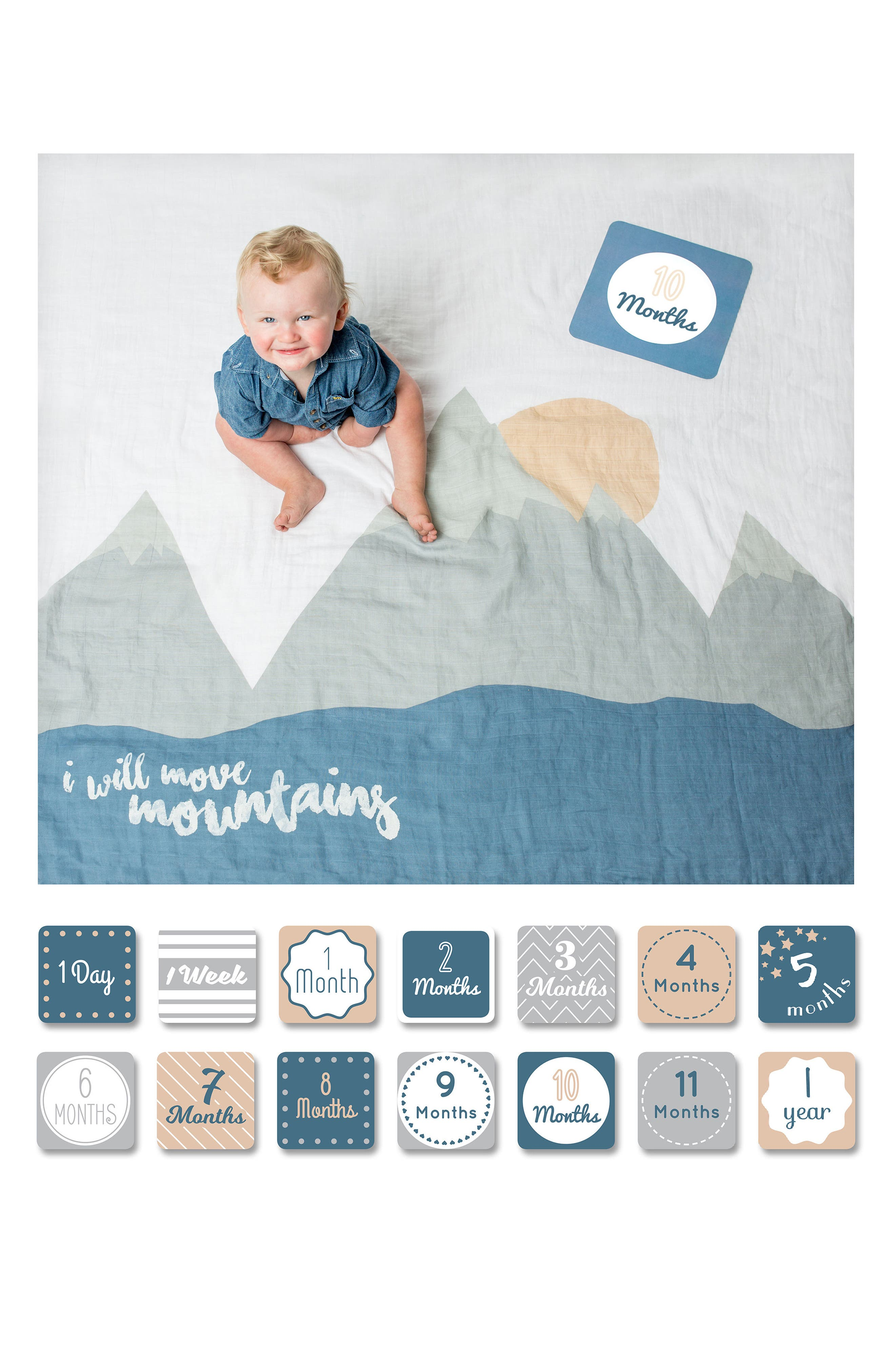 LULUJO, Baby's First Year - I Will Move Mountains Muslin Blanket & Milestone Card Set, Alternate thumbnail 3, color, WILL MOVE MOUNTAINS