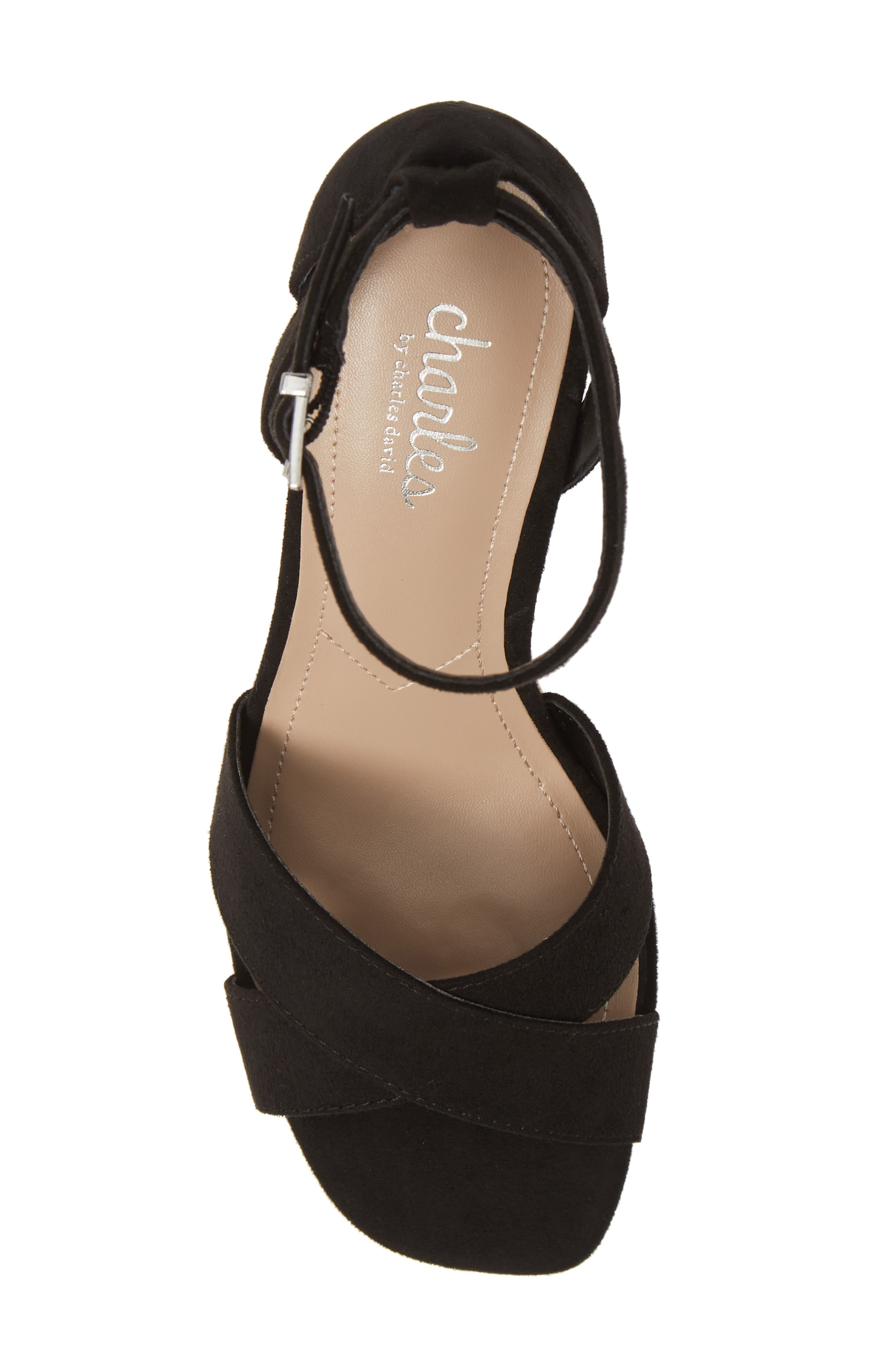 CHARLES BY CHARLES DAVID, Dempsey Platform Wedge Sandal, Alternate thumbnail 5, color, BLACK FABRIC