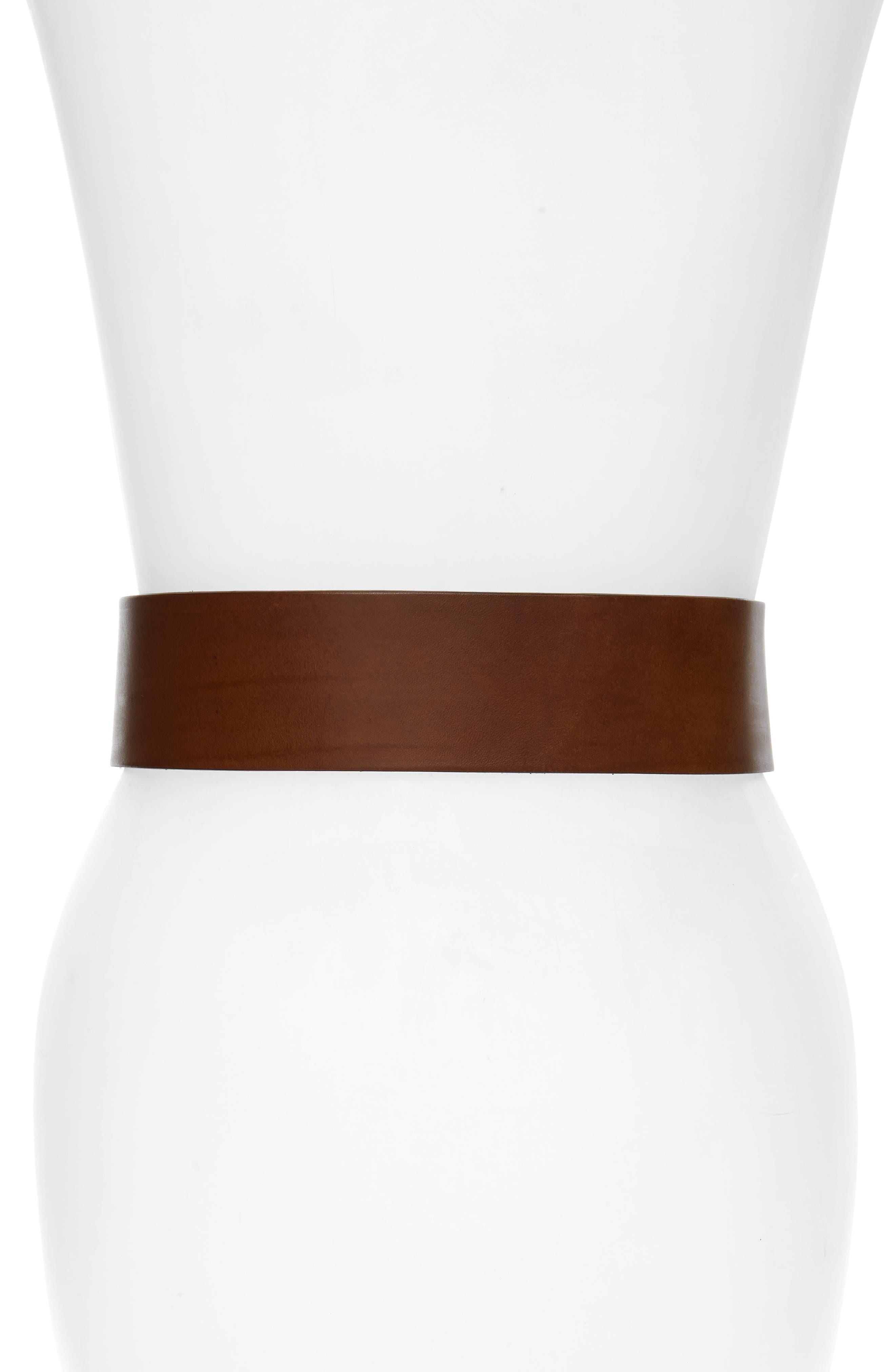 RAG & BONE, Field Leather Belt, Alternate thumbnail 2, color, BROWN
