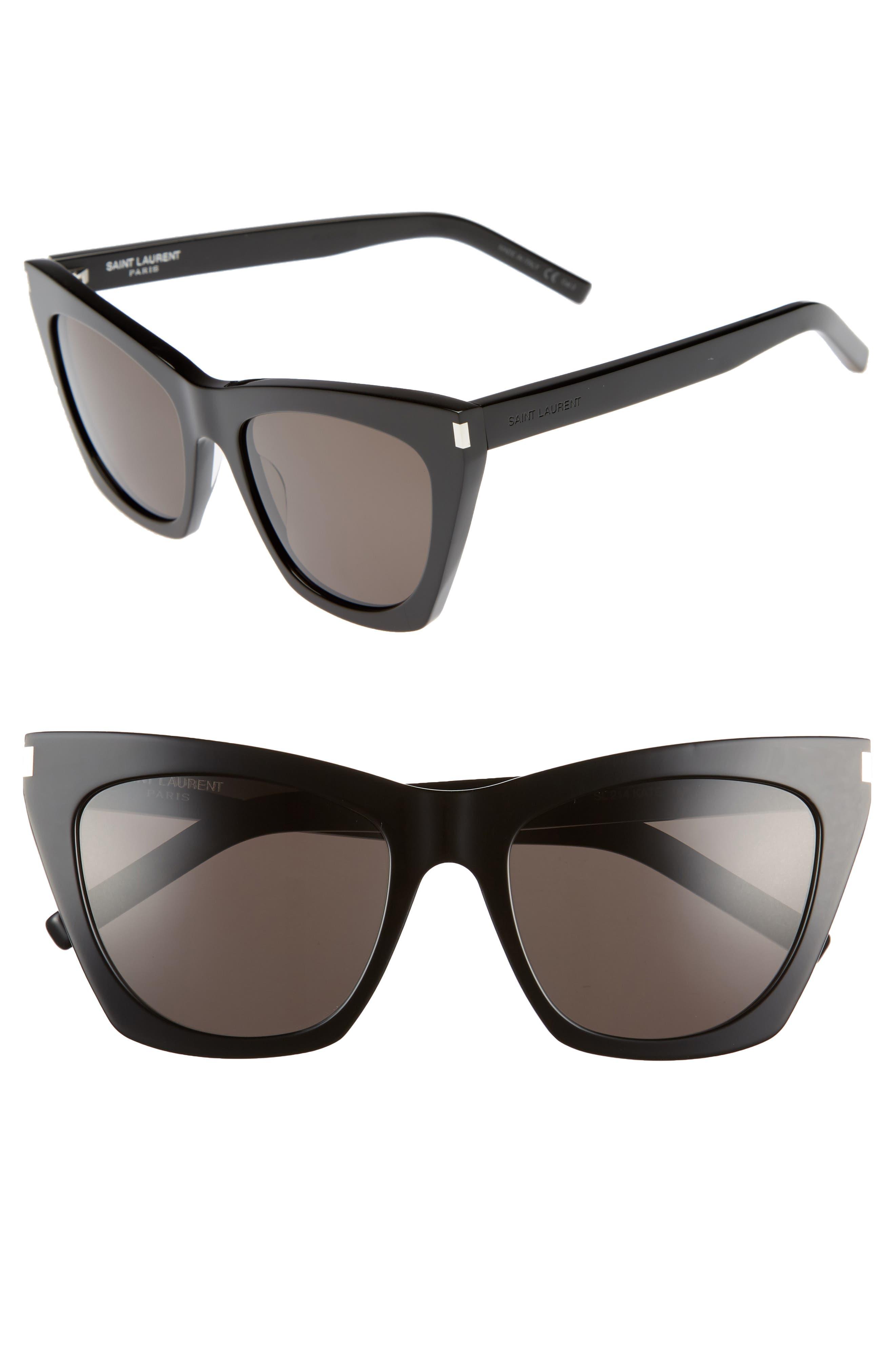 SAINT LAURENT Kate 55mm Cat Eye Sunglasses, Main, color, BLACK