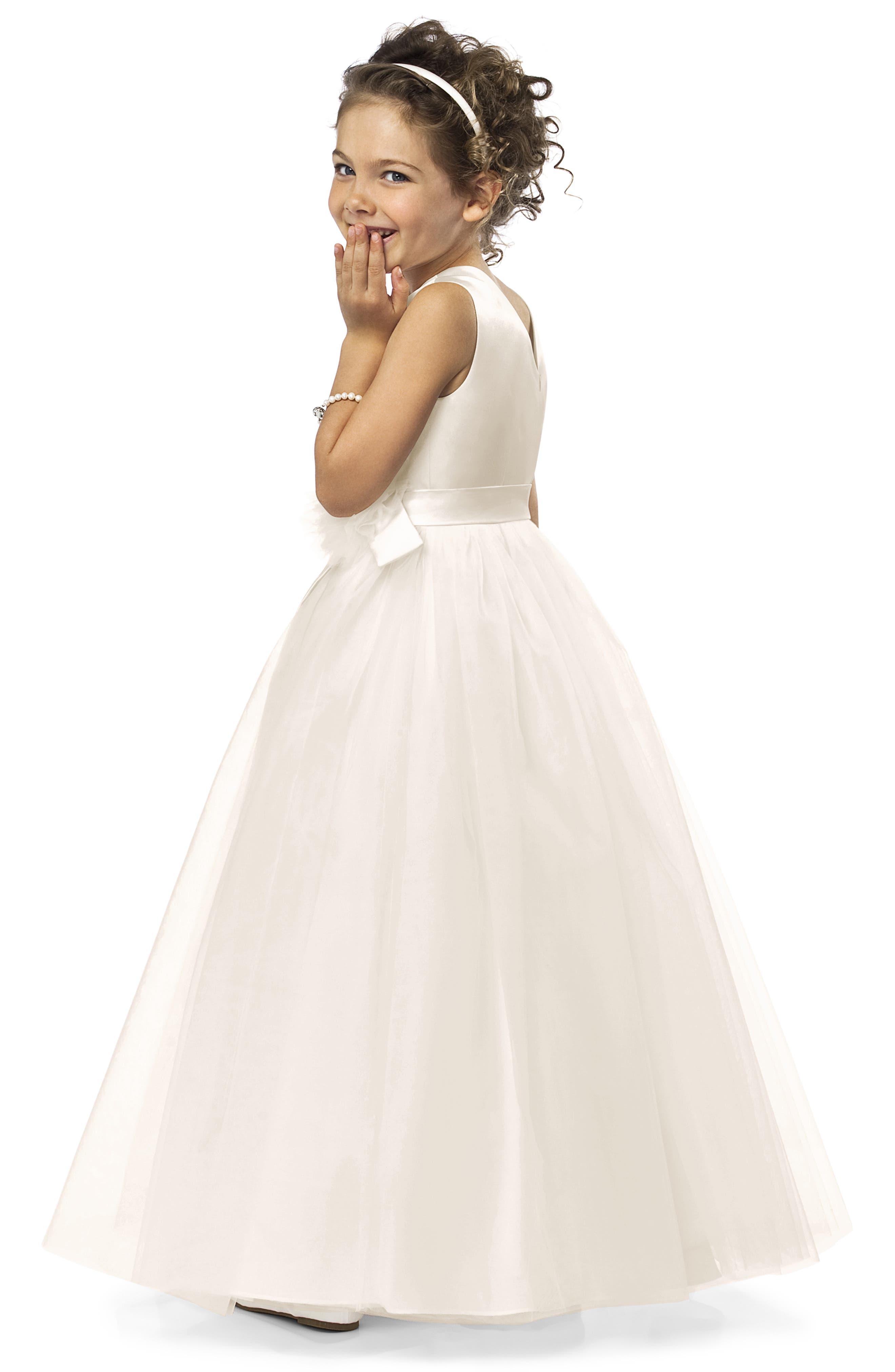 DESSY COLLECTION, Flower Girl Dress, Alternate thumbnail 2, color, IVORY