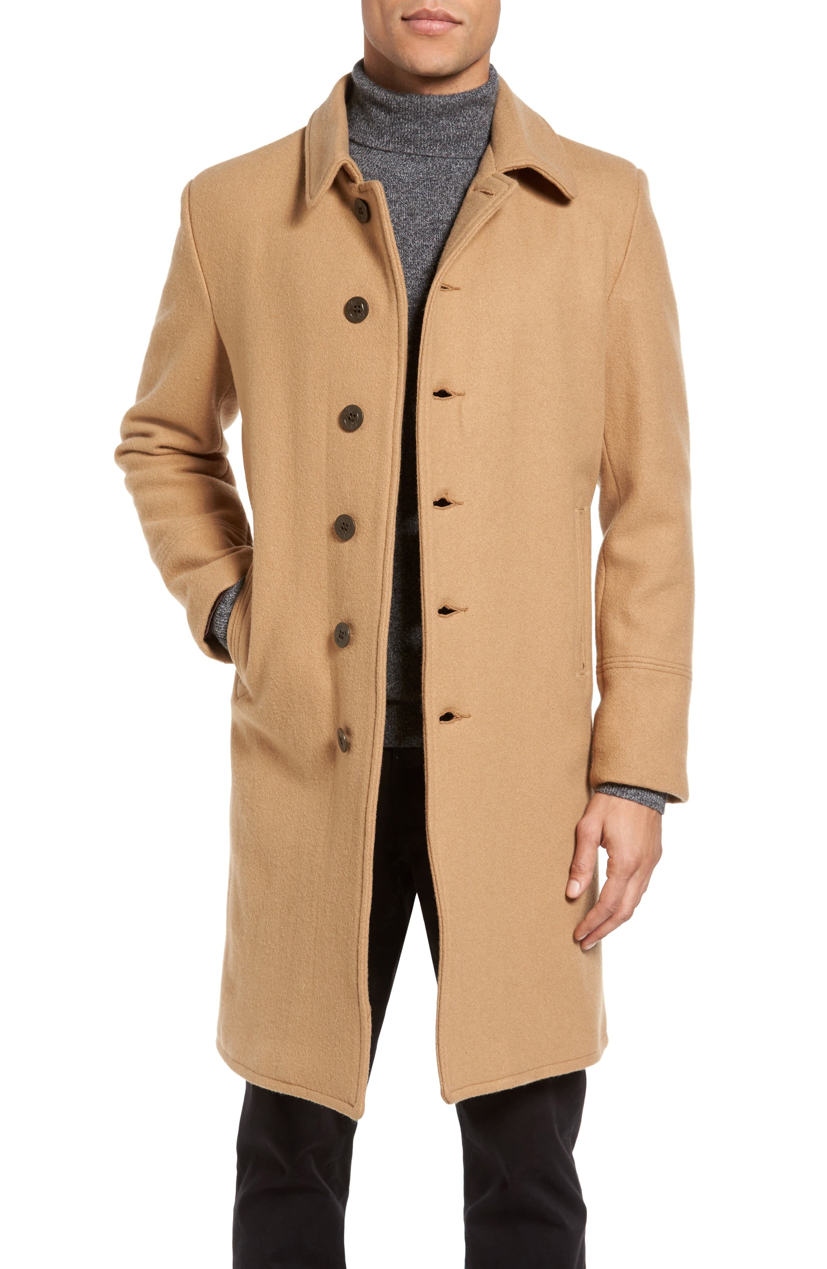 SCHOTT NYC Wool Blend Officer's Coat, Main, color, 200