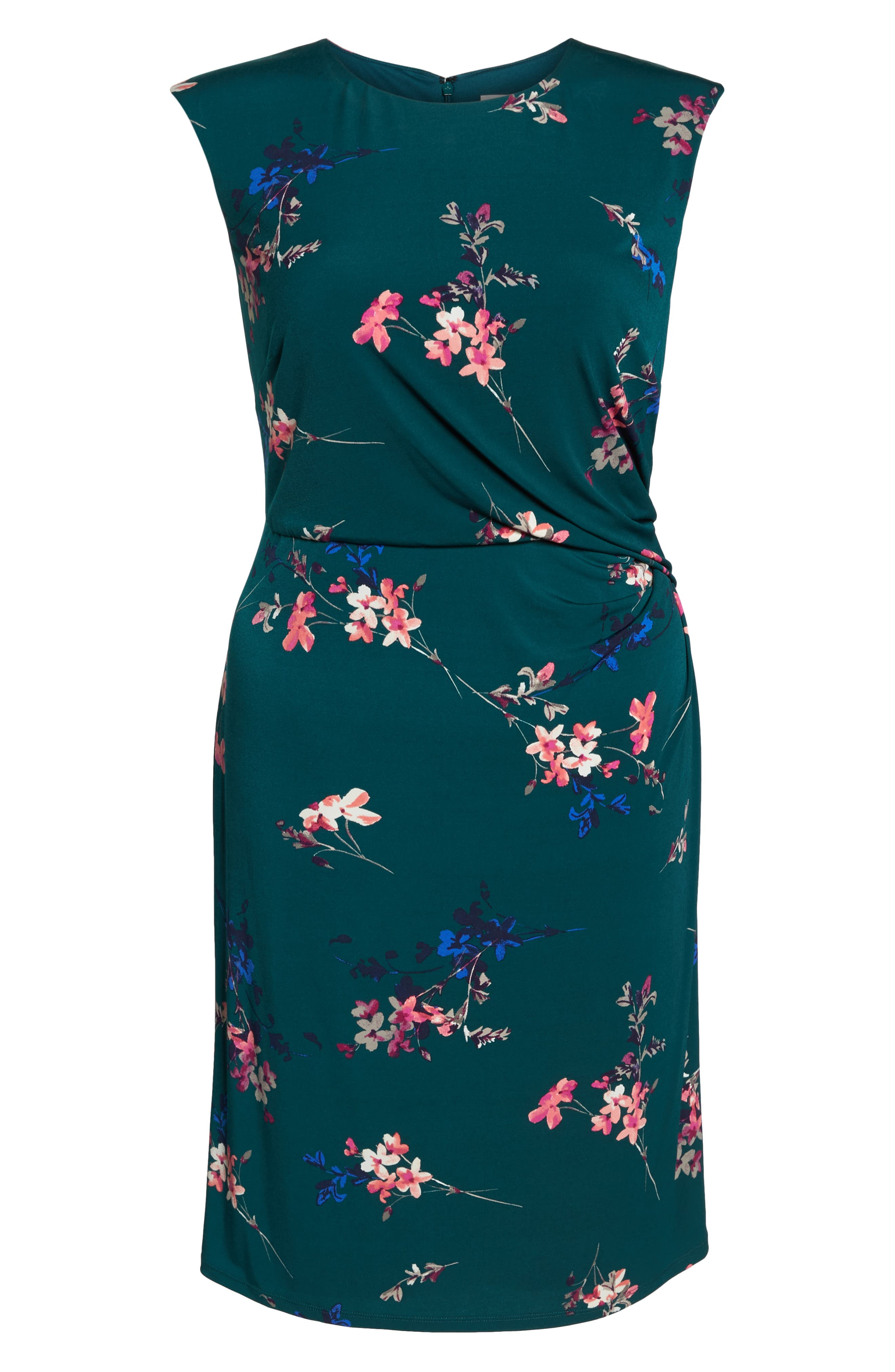 ELIZA J, Floral Print Cap Sleeve Sheath Dress, Alternate thumbnail 7, color, GREEN