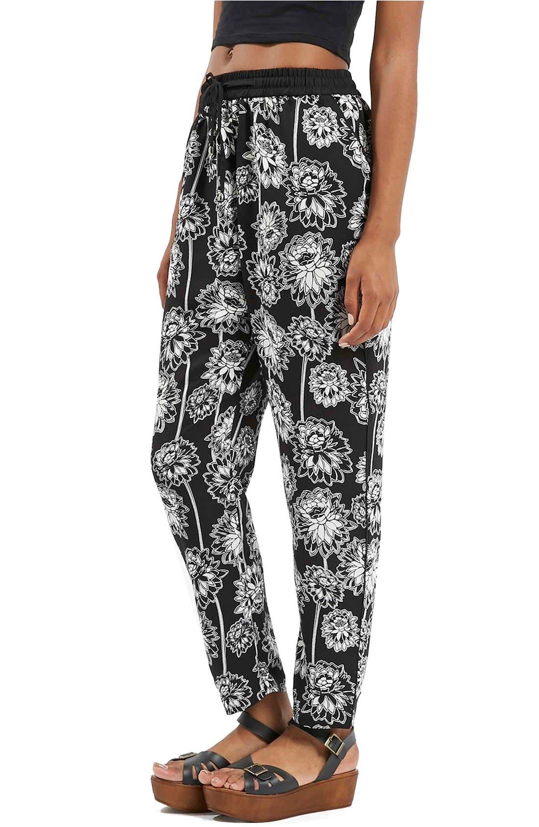 TOPSHOP 'Shoto' Woven Floral Pants, Main, color, 001