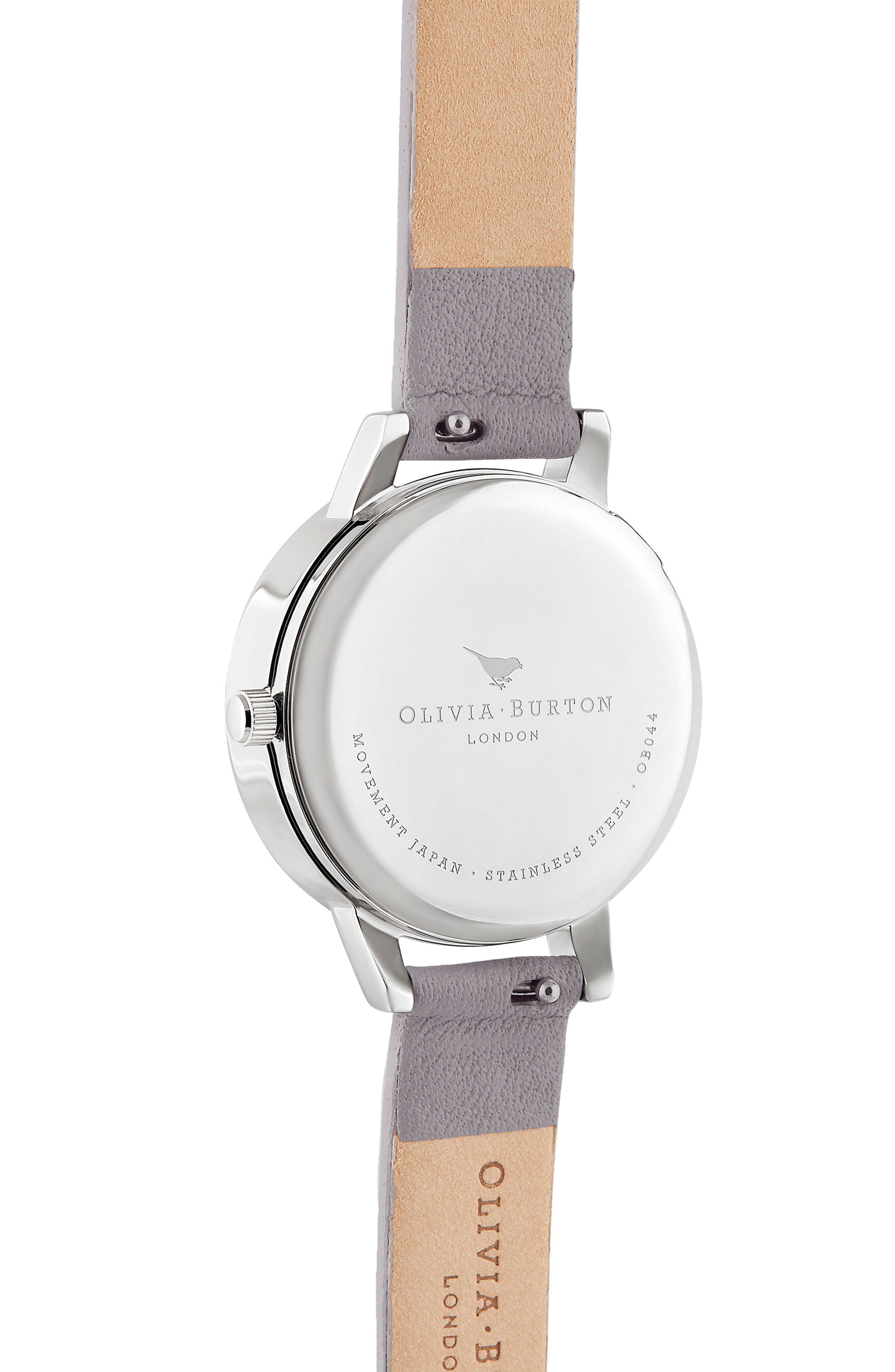 OLIVIA BURTON, 3D Bee Leather Strap Watch, 30mm, Alternate thumbnail 3, color, GREY LILAC/ WHITE BEE/ SILVER