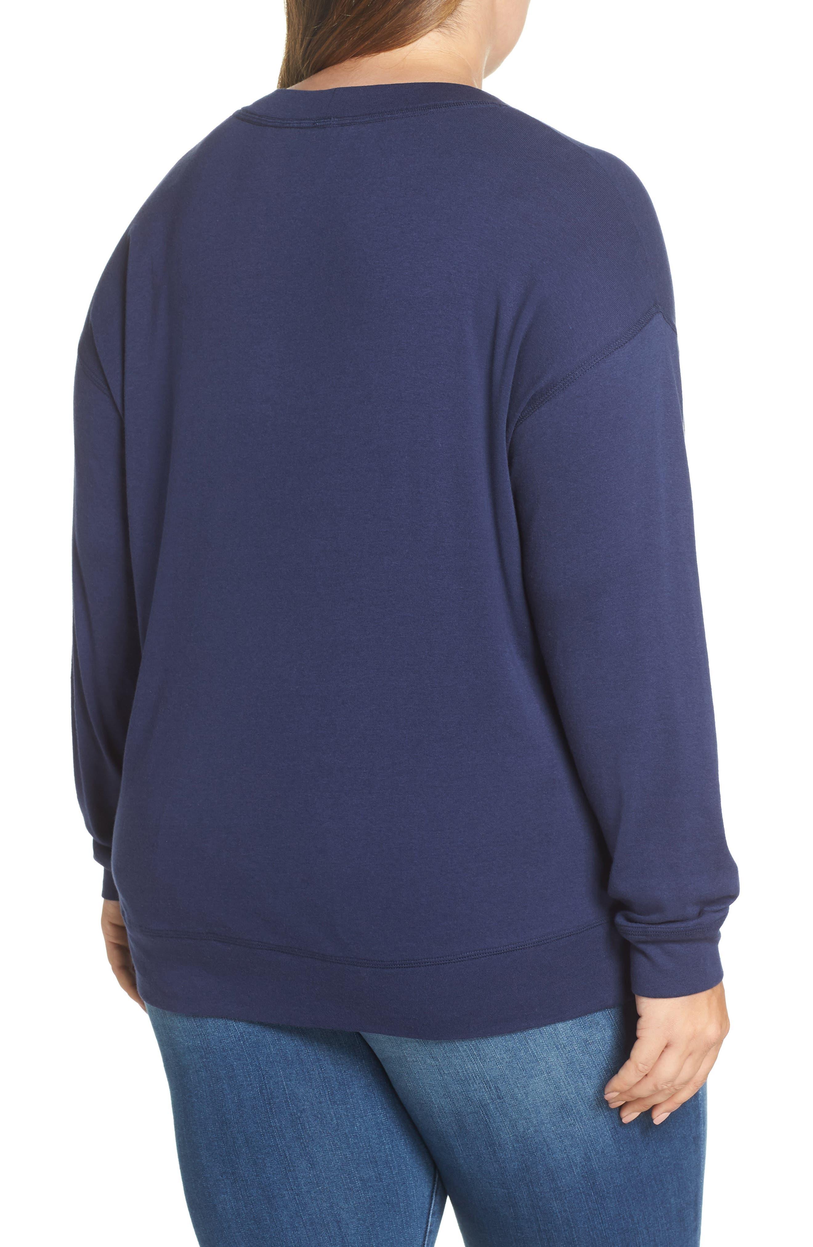 CASLON<SUP>®</SUP>, Crewneck Sweatshirt, Alternate thumbnail 2, color, NAVY PEACOAT