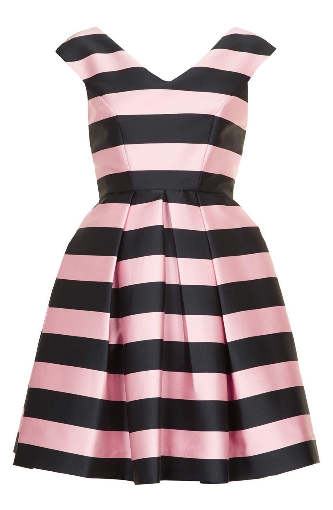 TOPSHOP, Stripe Satin Fit & Flare Dress, Alternate thumbnail 3, color, 001