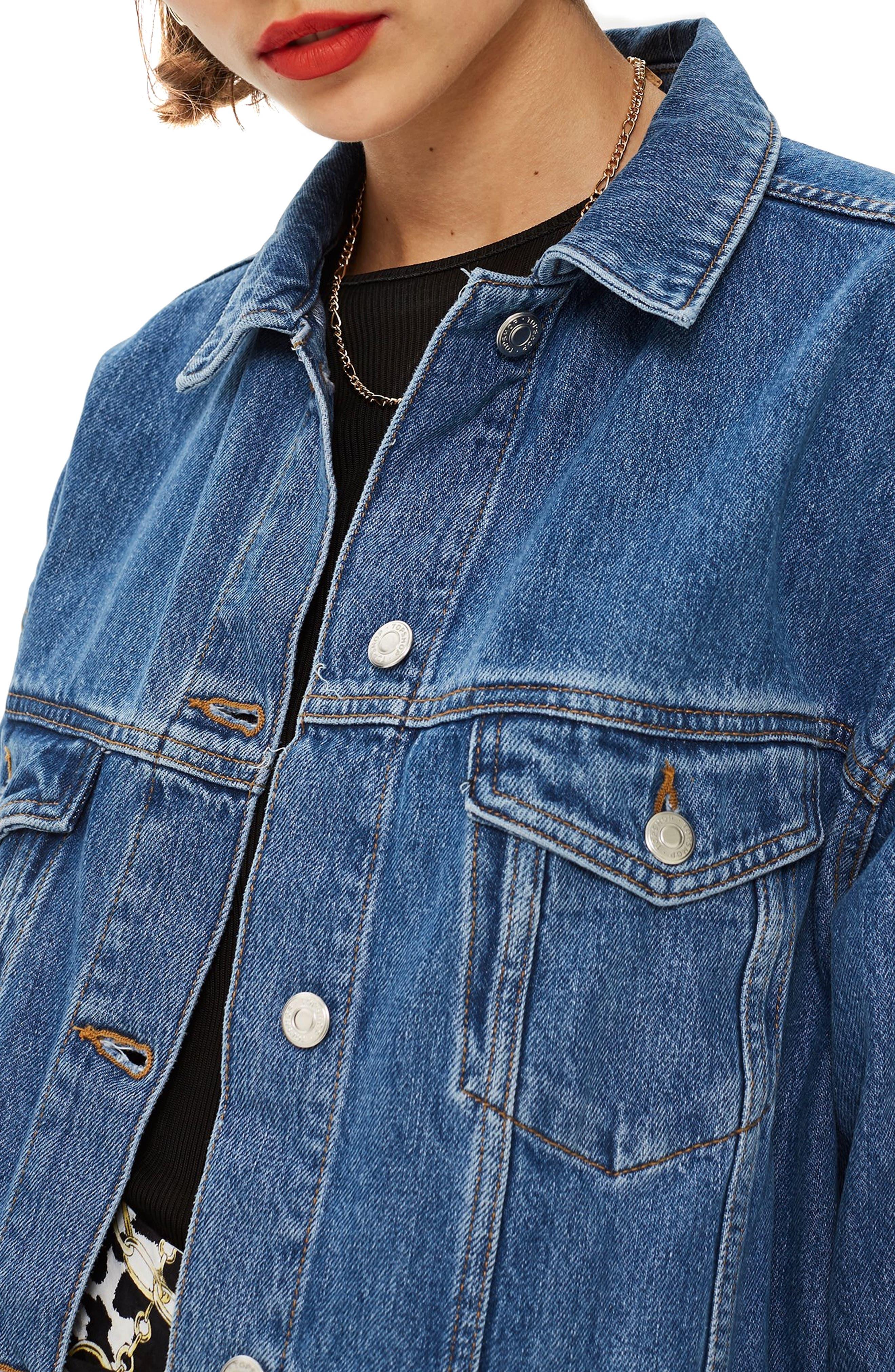 TOPSHOP, Oversized Denim Jacket, Alternate thumbnail 4, color, MID DENIM