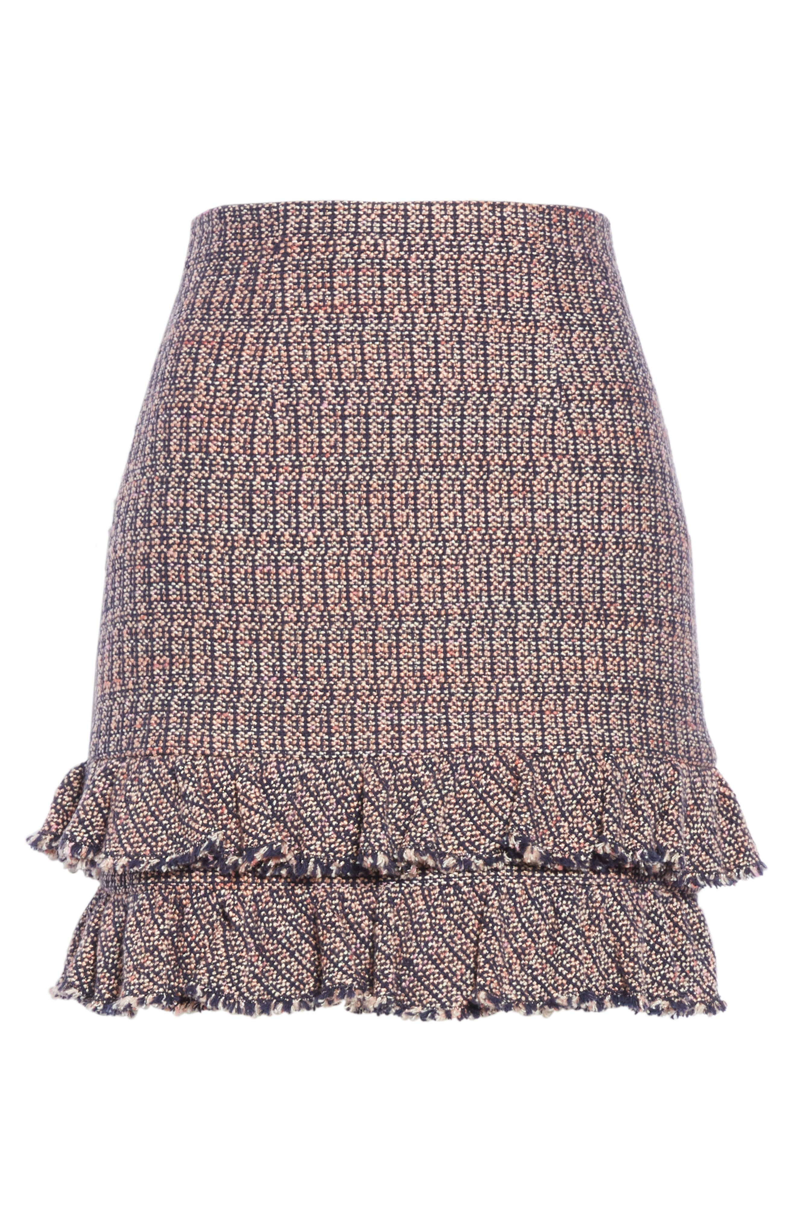 REBECCA TAYLOR, Ruffle Hem Tweed Miniskirt, Alternate thumbnail 6, color, PINK/ NAVY COMBO