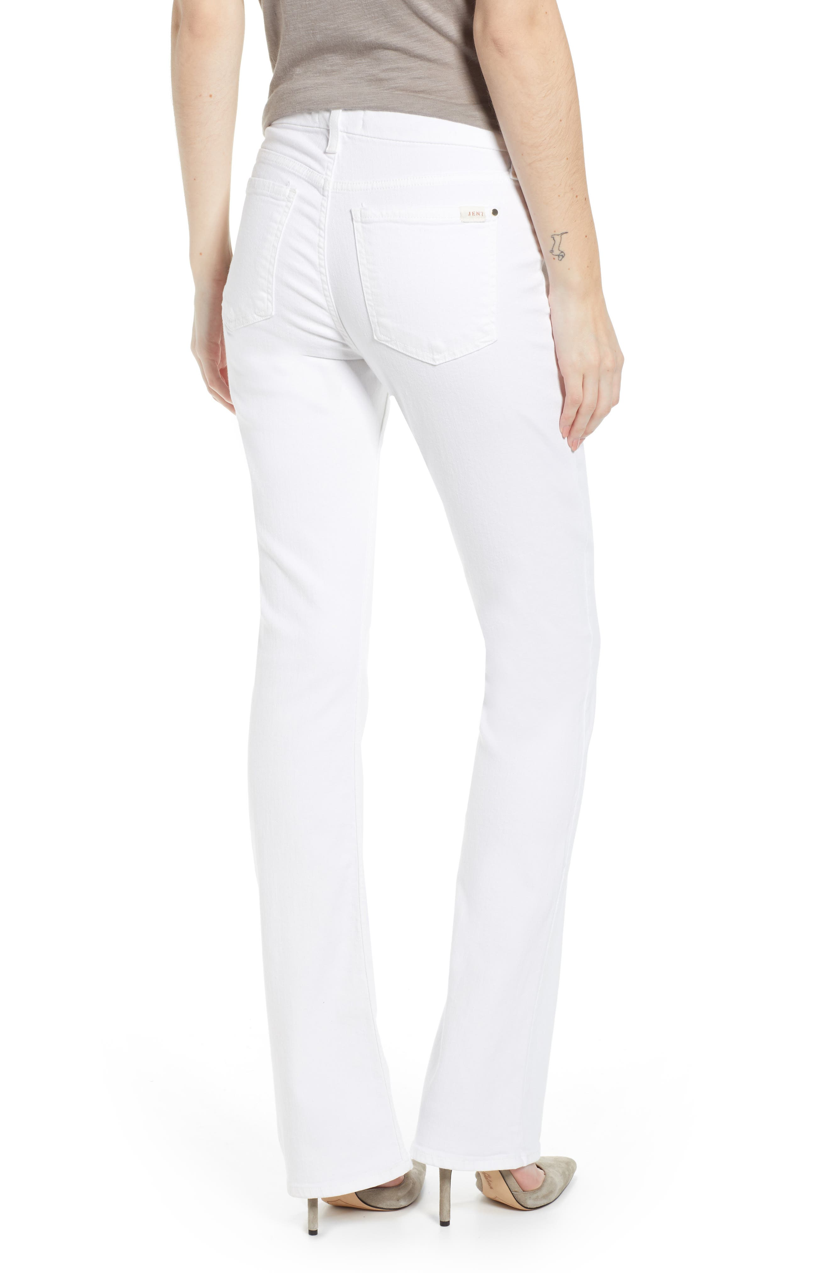 JEN7 BY 7 FOR ALL MANKIND, Slim Bootcut Jeans, Alternate thumbnail 2, color, WHITE