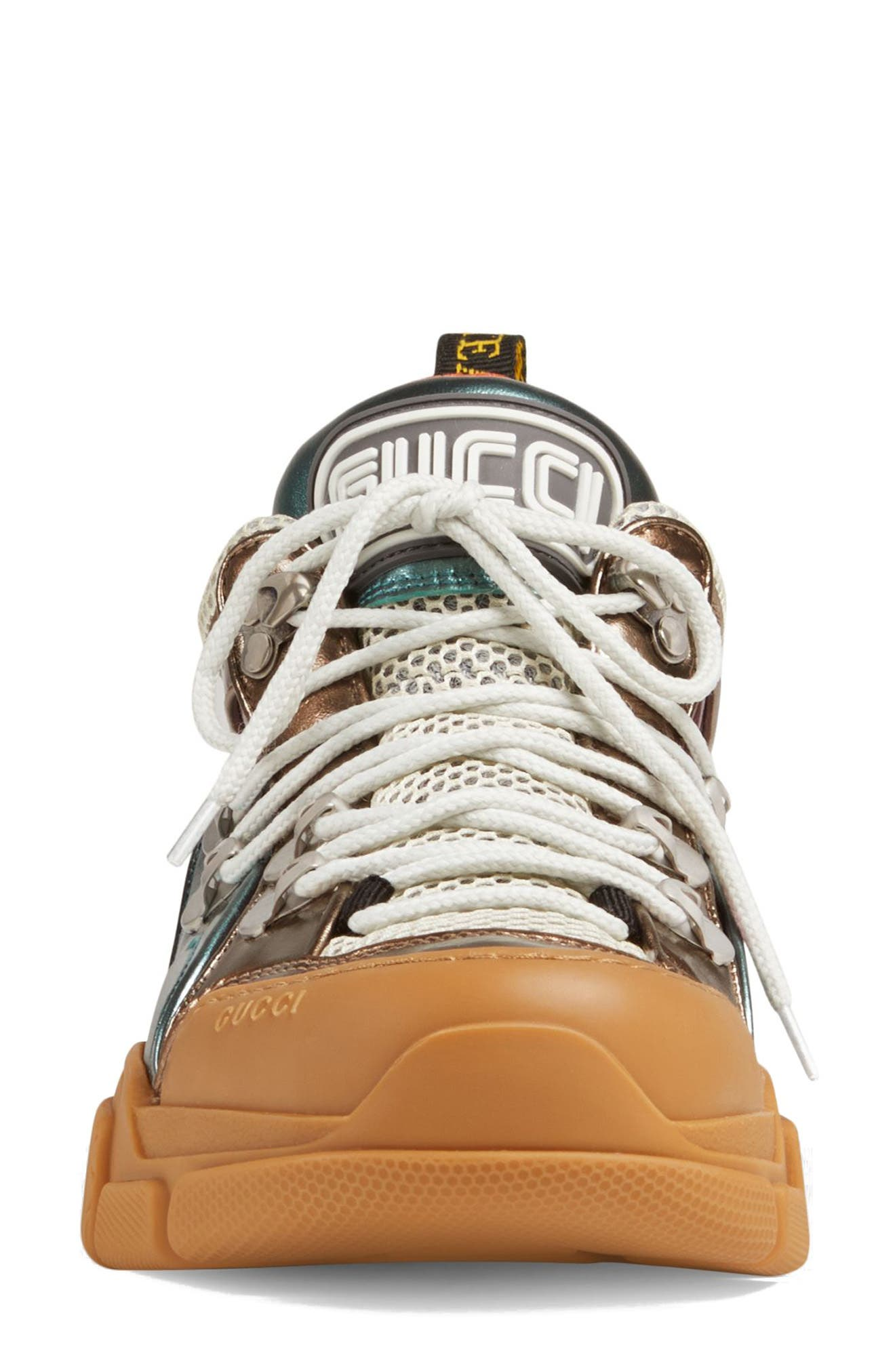 GUCCI, Flashtrek Lace-Up Sneaker, Alternate thumbnail 4, color, BROWN/ BLUE/ PINK
