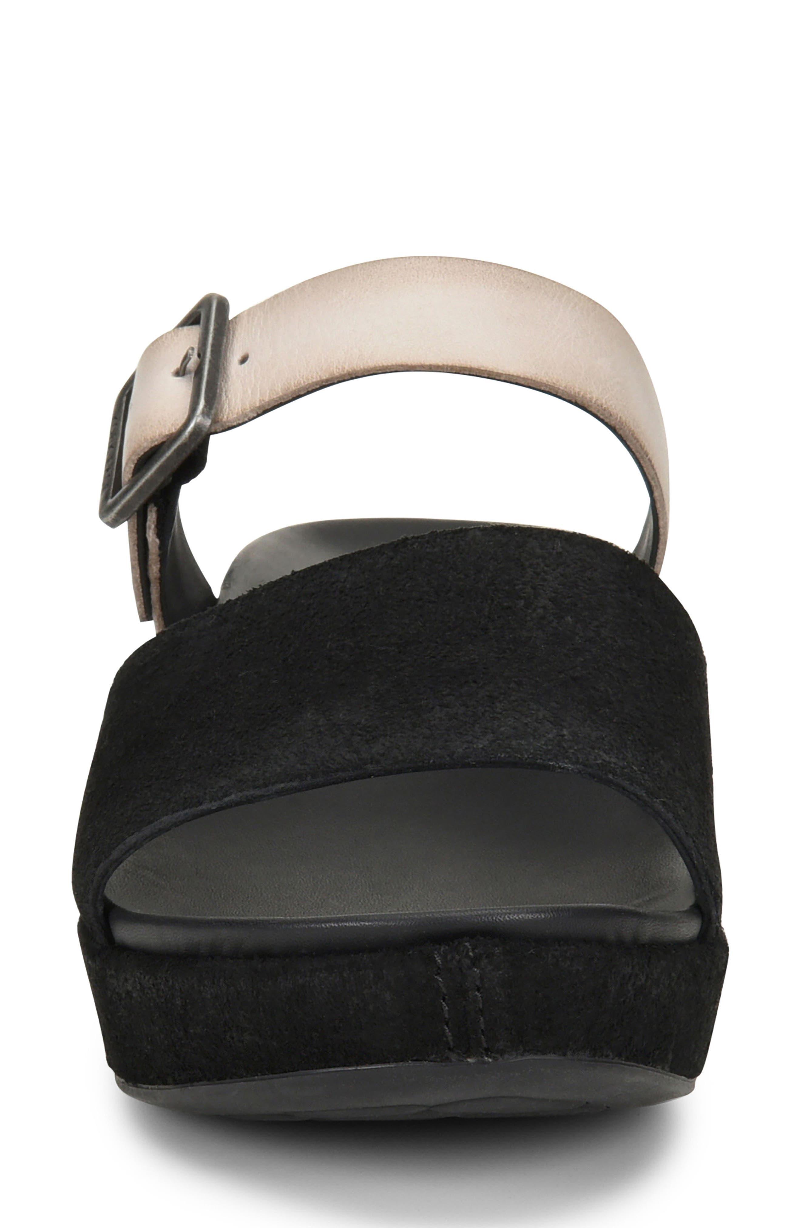 KORK-EASE<SUP>®</SUP>, Bisti Wedge Slide Sandal, Main thumbnail 1, color, BLACK/ GREY LEATHER