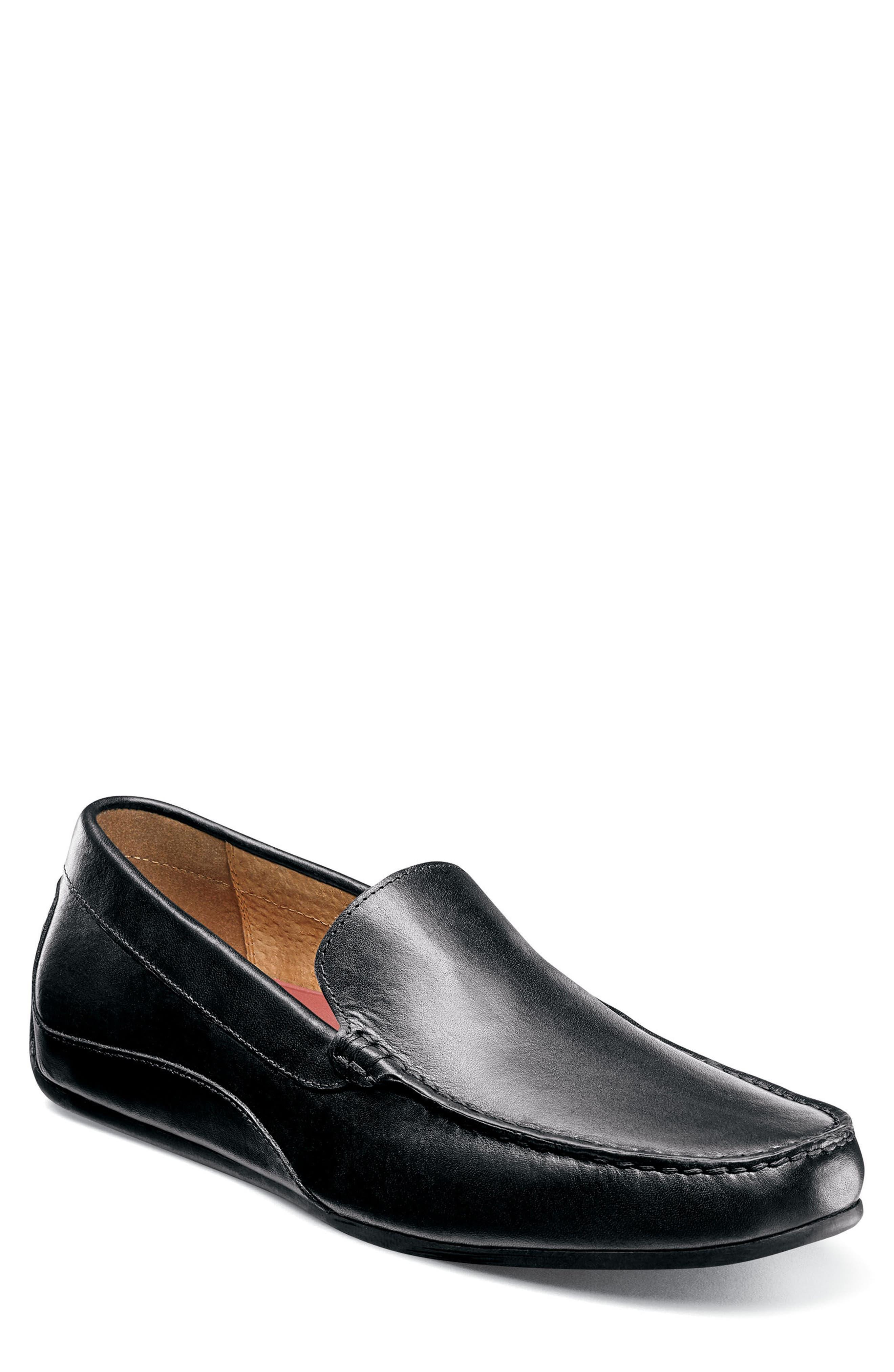 FLORSHEIM, Oval Driving Shoe, Main thumbnail 1, color, BLACK LEATHER