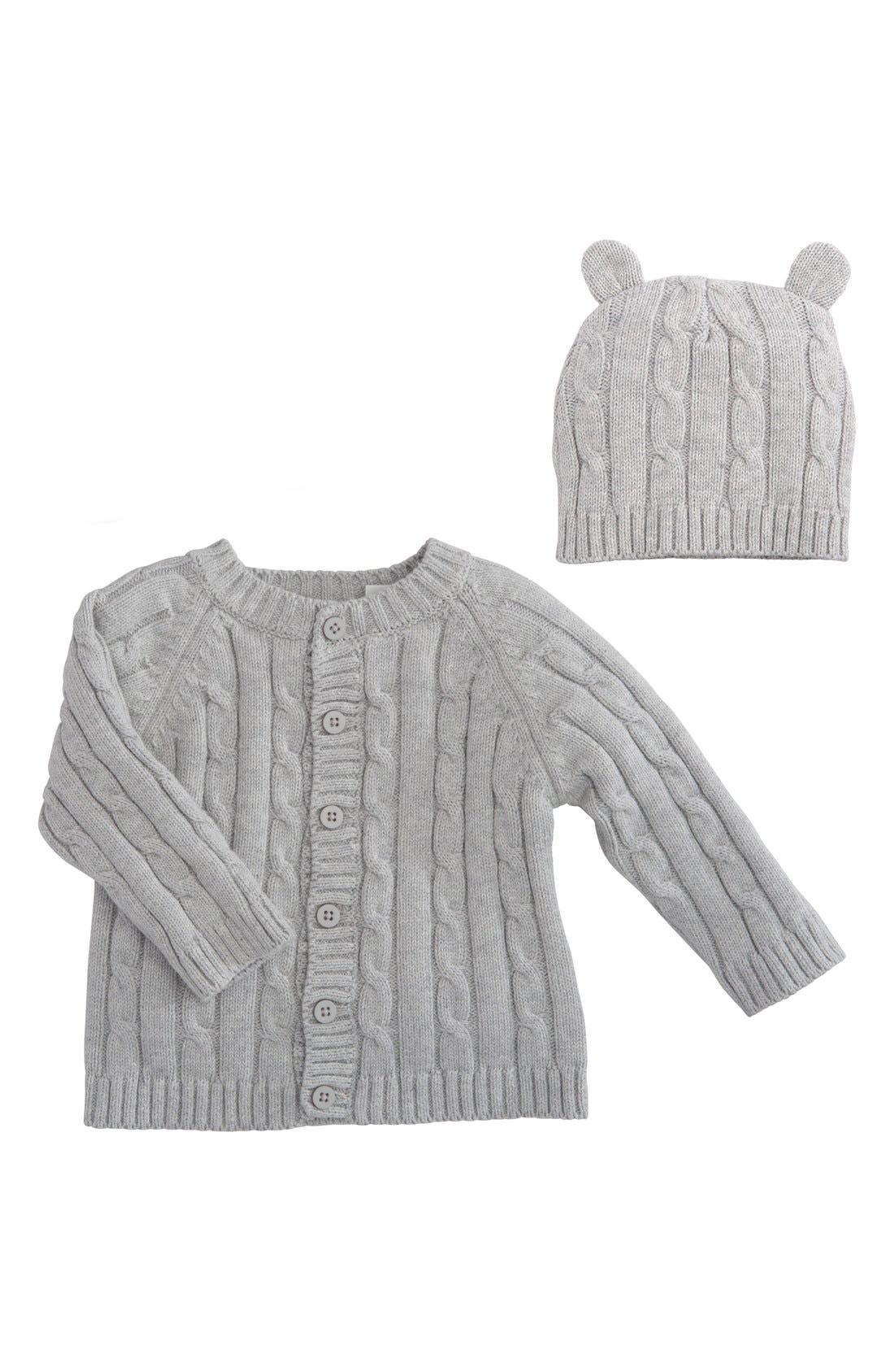 ELEGANT BABY, Cable Knit Sweater & Hat Set, Main thumbnail 1, color, GRAY