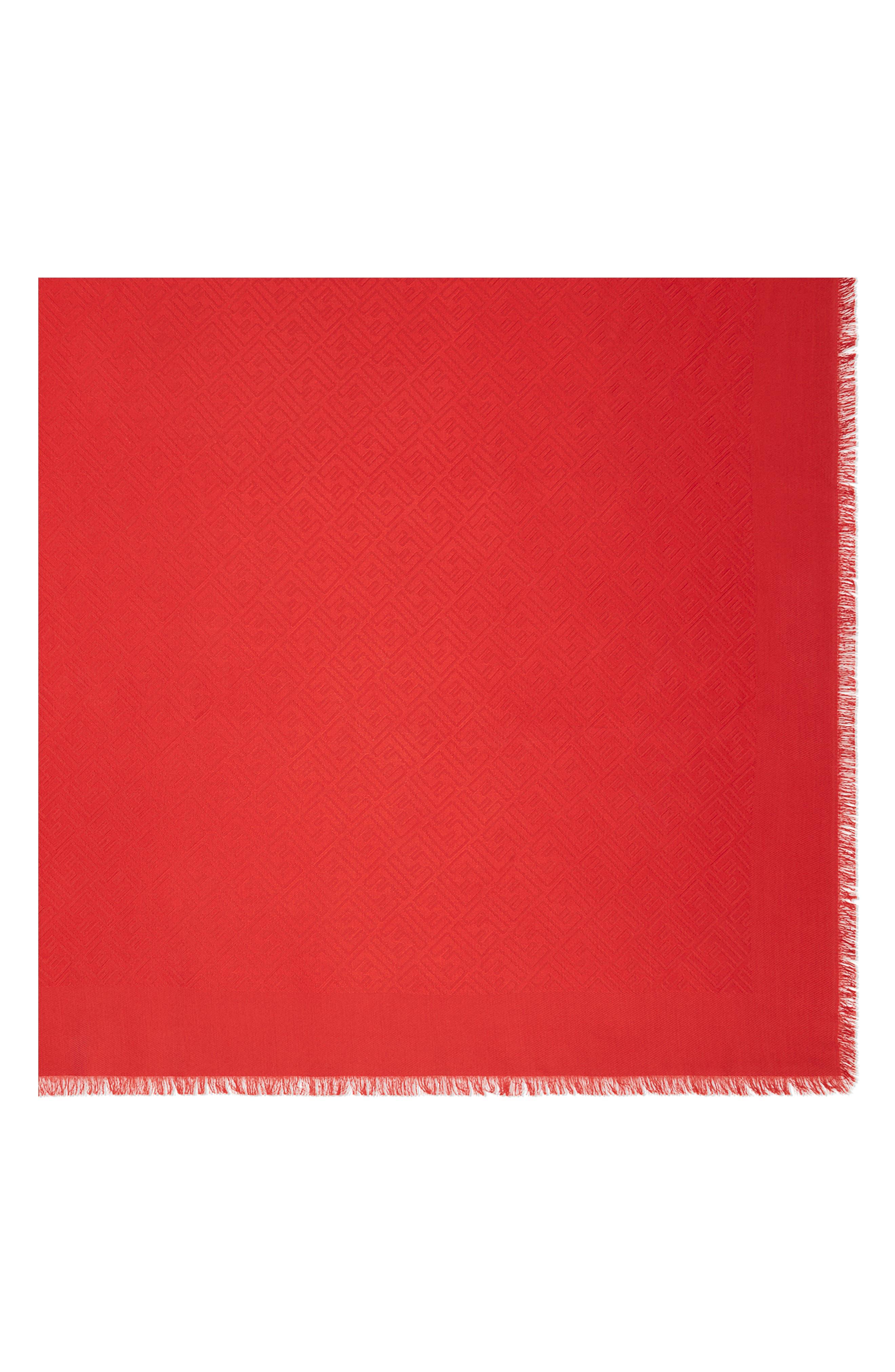 FENDI, Logo Silk & Wool Scarf, Main thumbnail 1, color, DARK RED