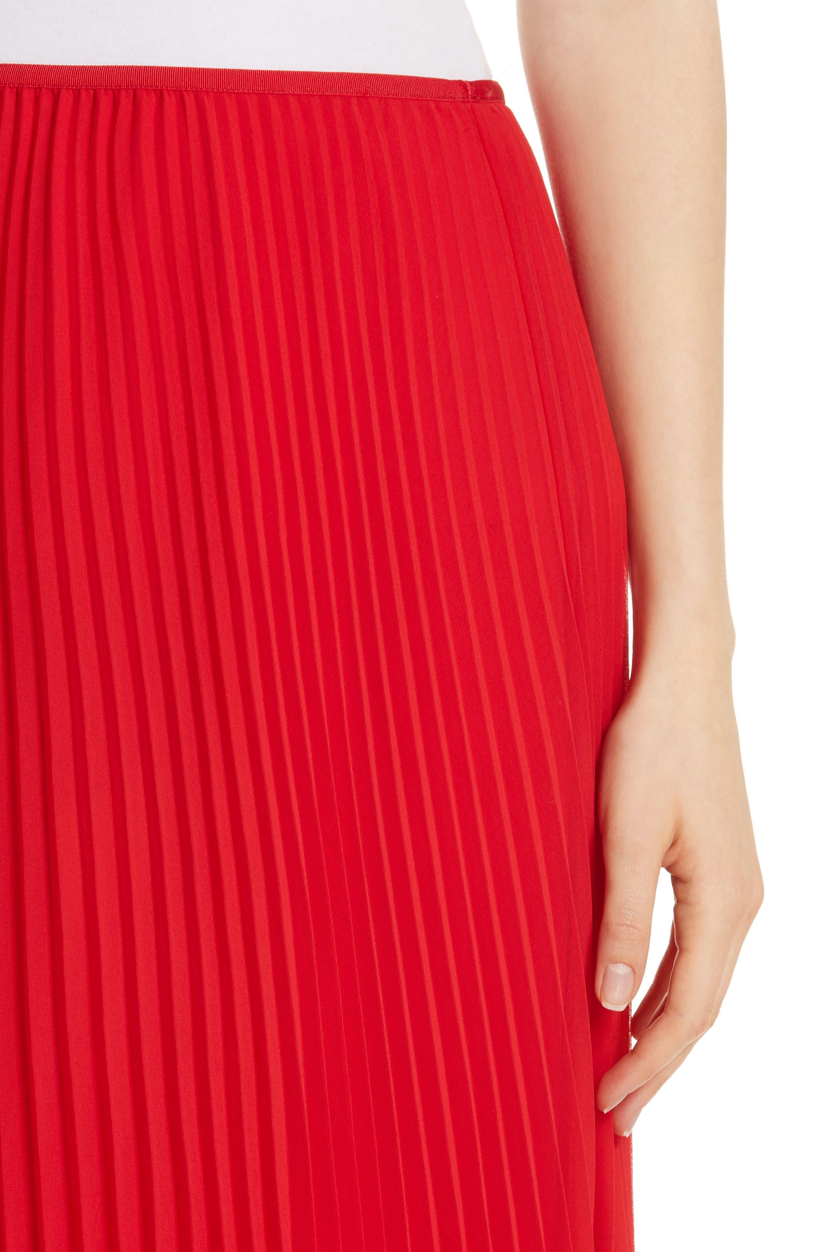 POLO RALPH LAUREN, Pleat Midi Skirt, Alternate thumbnail 4, color, PANDORA RED