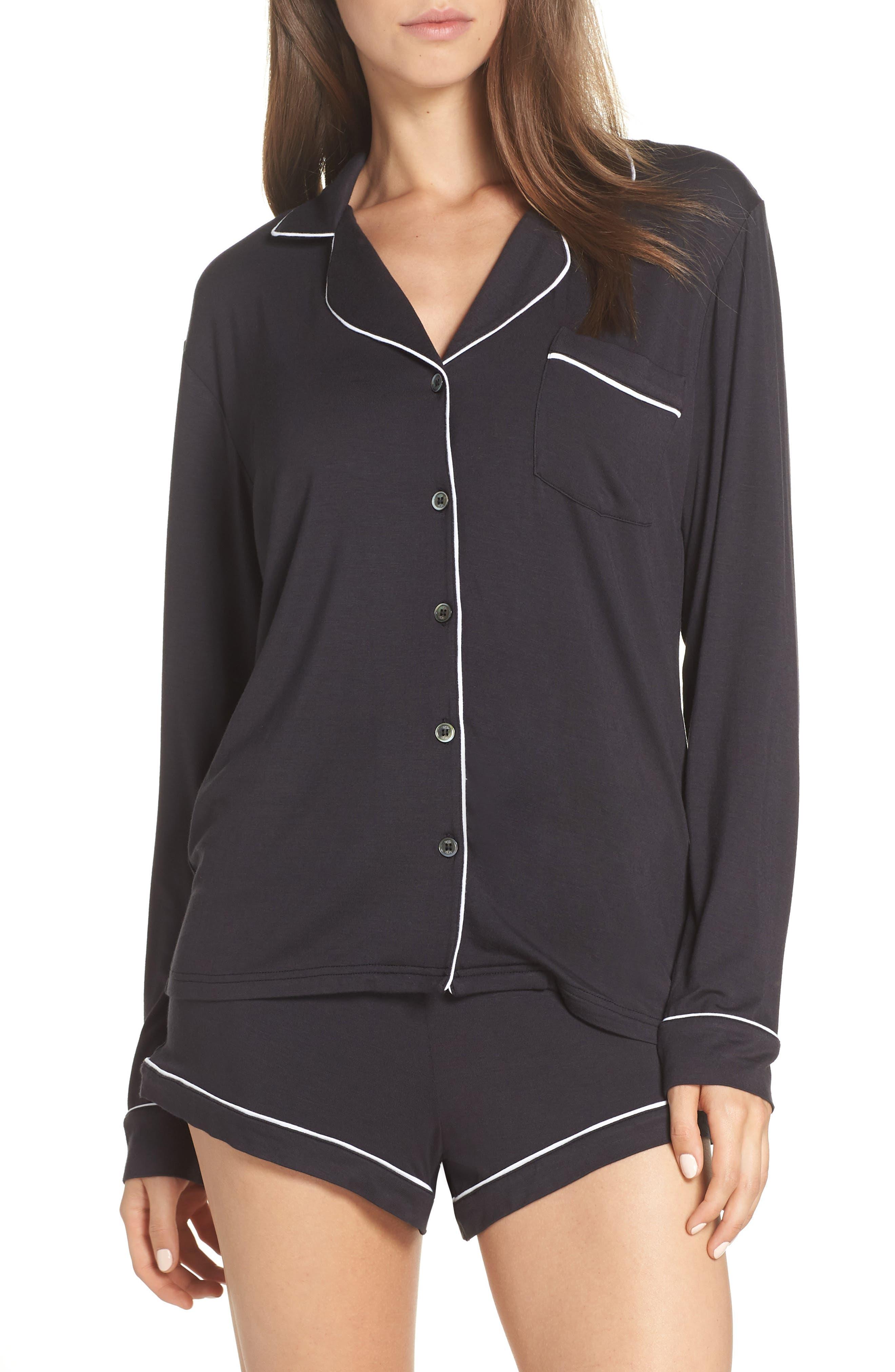 UGG<SUP>®</SUP>, Nya Short Pajamas, Main thumbnail 1, color, BLACK