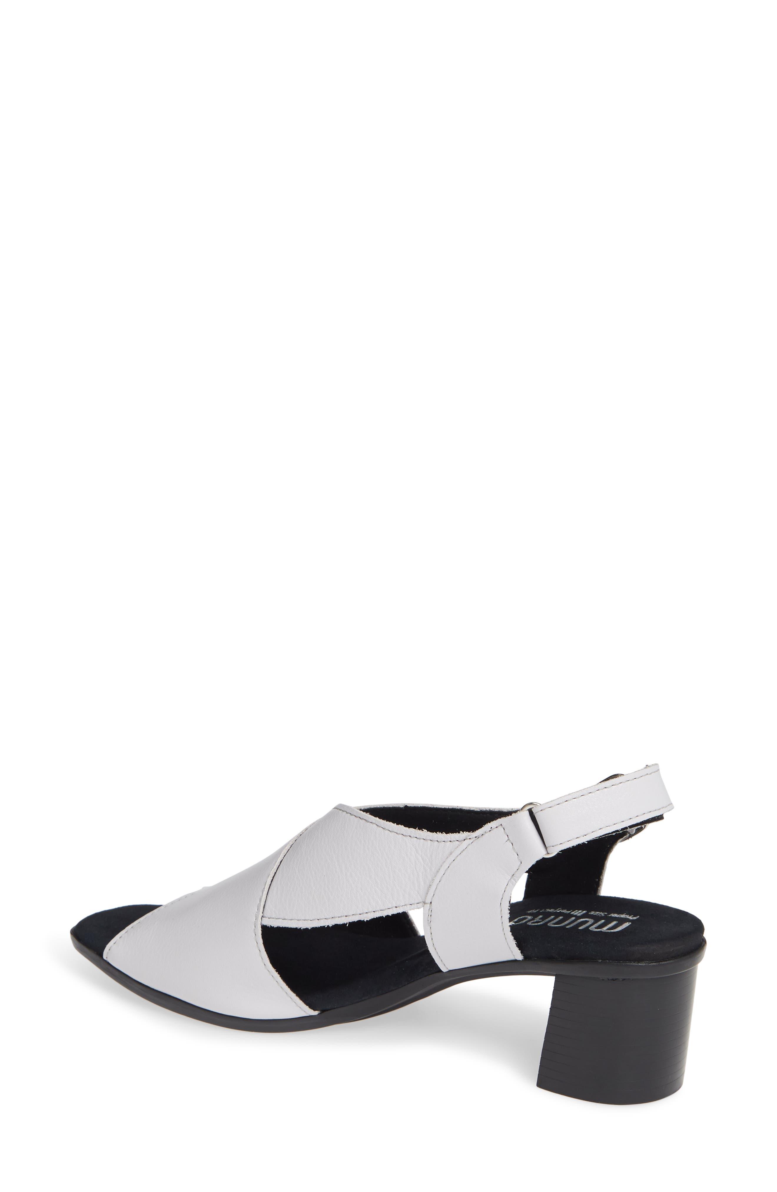 MUNRO, Laine Block Heel Sandal, Alternate thumbnail 2, color, WHITE LEATHER