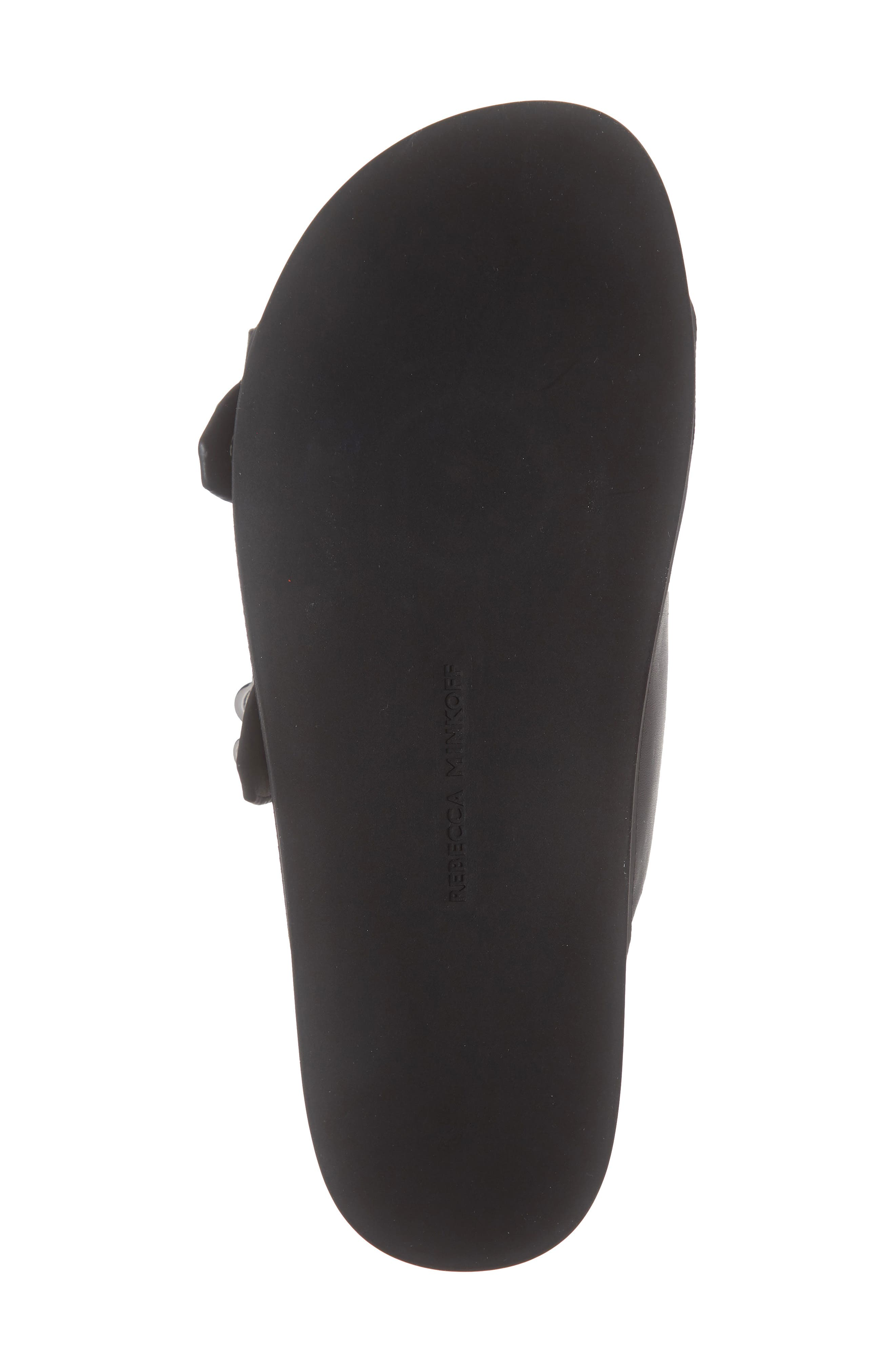 REBECCA MINKOFF, Vachel Slide Sandal, Alternate thumbnail 6, color, BLACK LEATHER