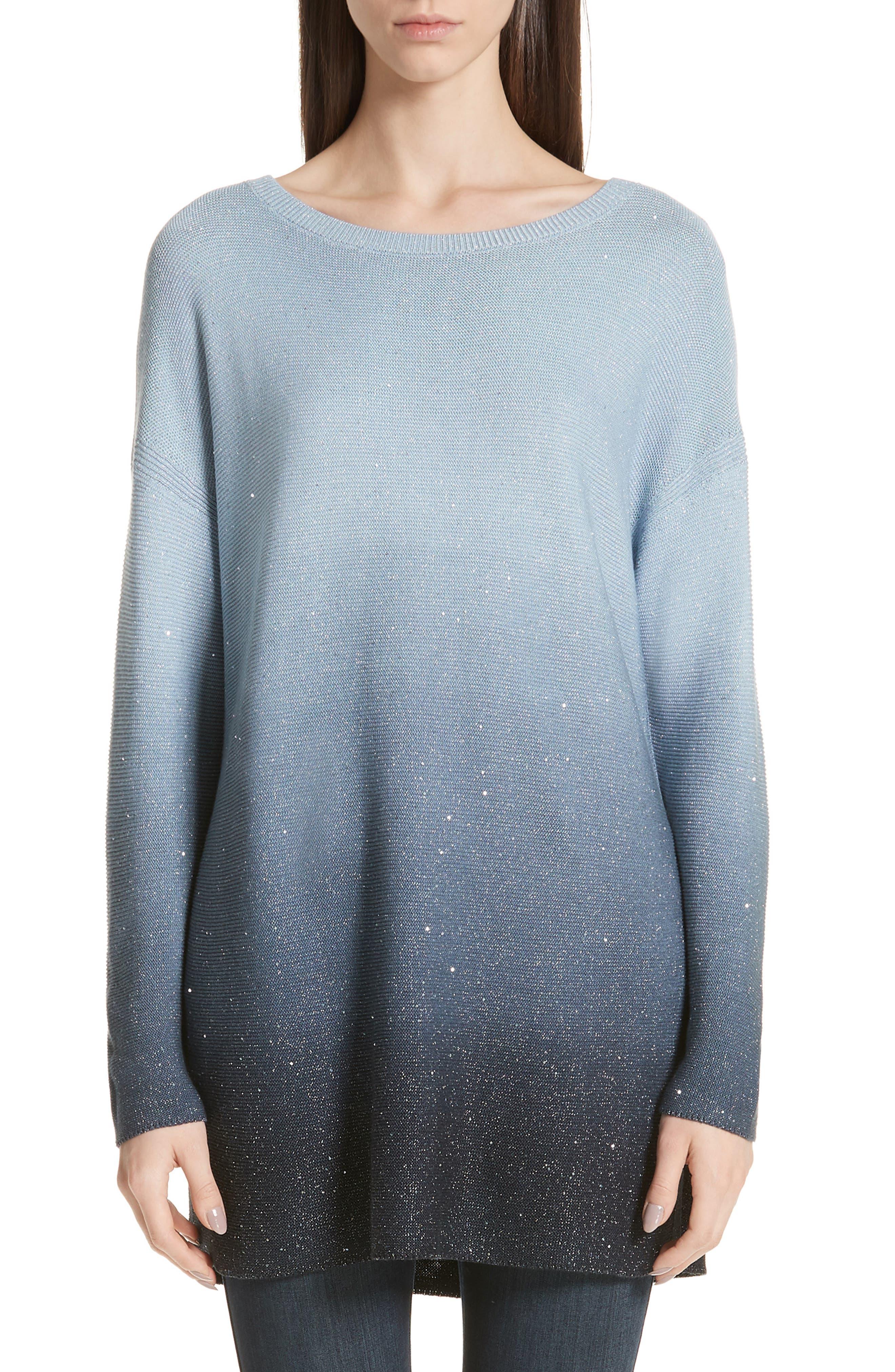 LAFAYETTE 148 NEW YORK, Sequin Ombré Silk Blend Tunic, Main thumbnail 1, color, SLATE BLUE MULTI