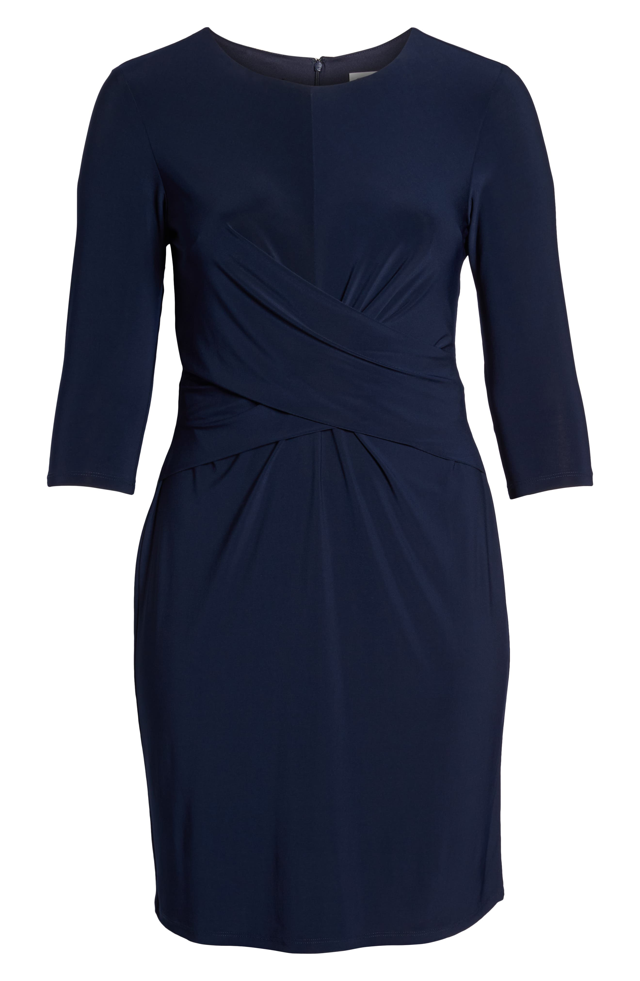 ELIZA J, Ruched Waist Sheath Dress, Alternate thumbnail 7, color, NAVY