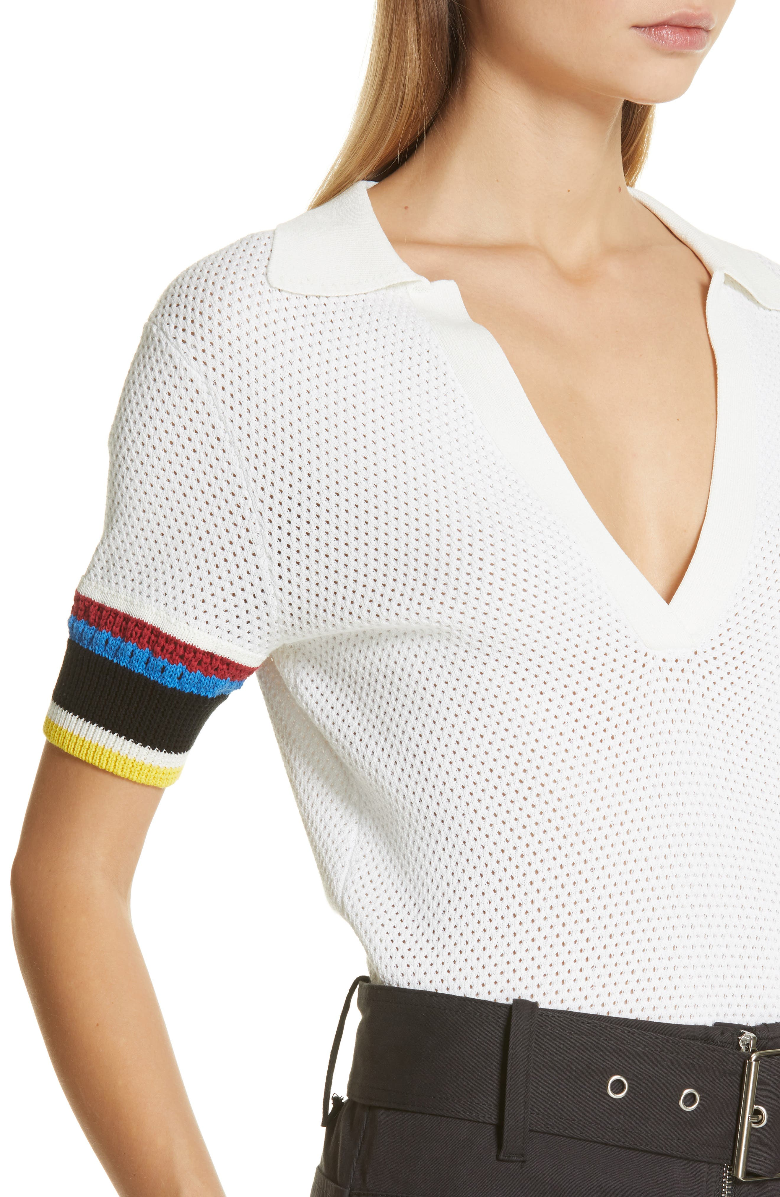 PROENZA SCHOULER, PSWL Stripe Sleeve Polo Top, Alternate thumbnail 4, color, OFF WHITE