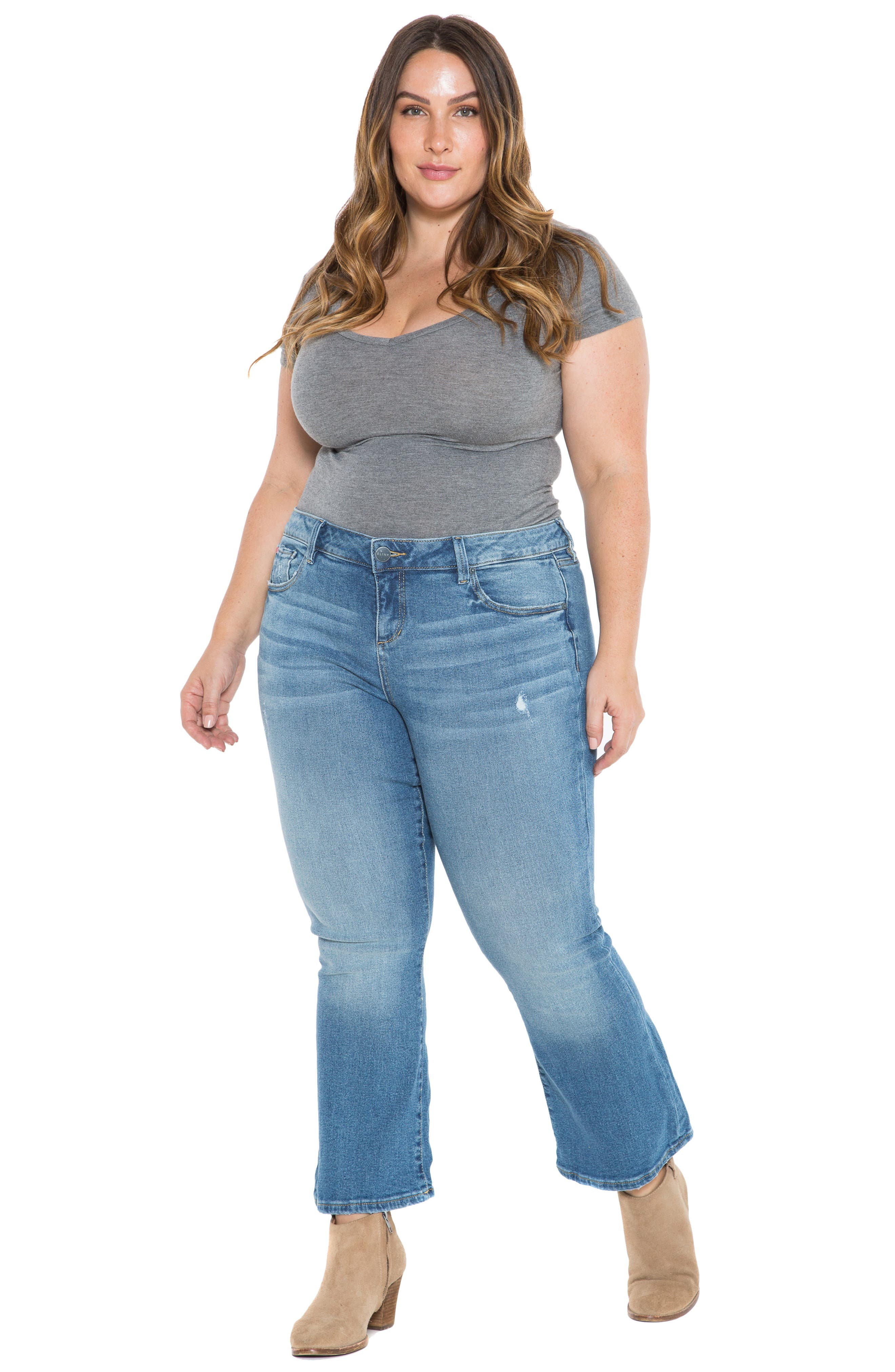 SLINK JEANS, Crop Flare Jeans, Alternate thumbnail 5, color, PATTI