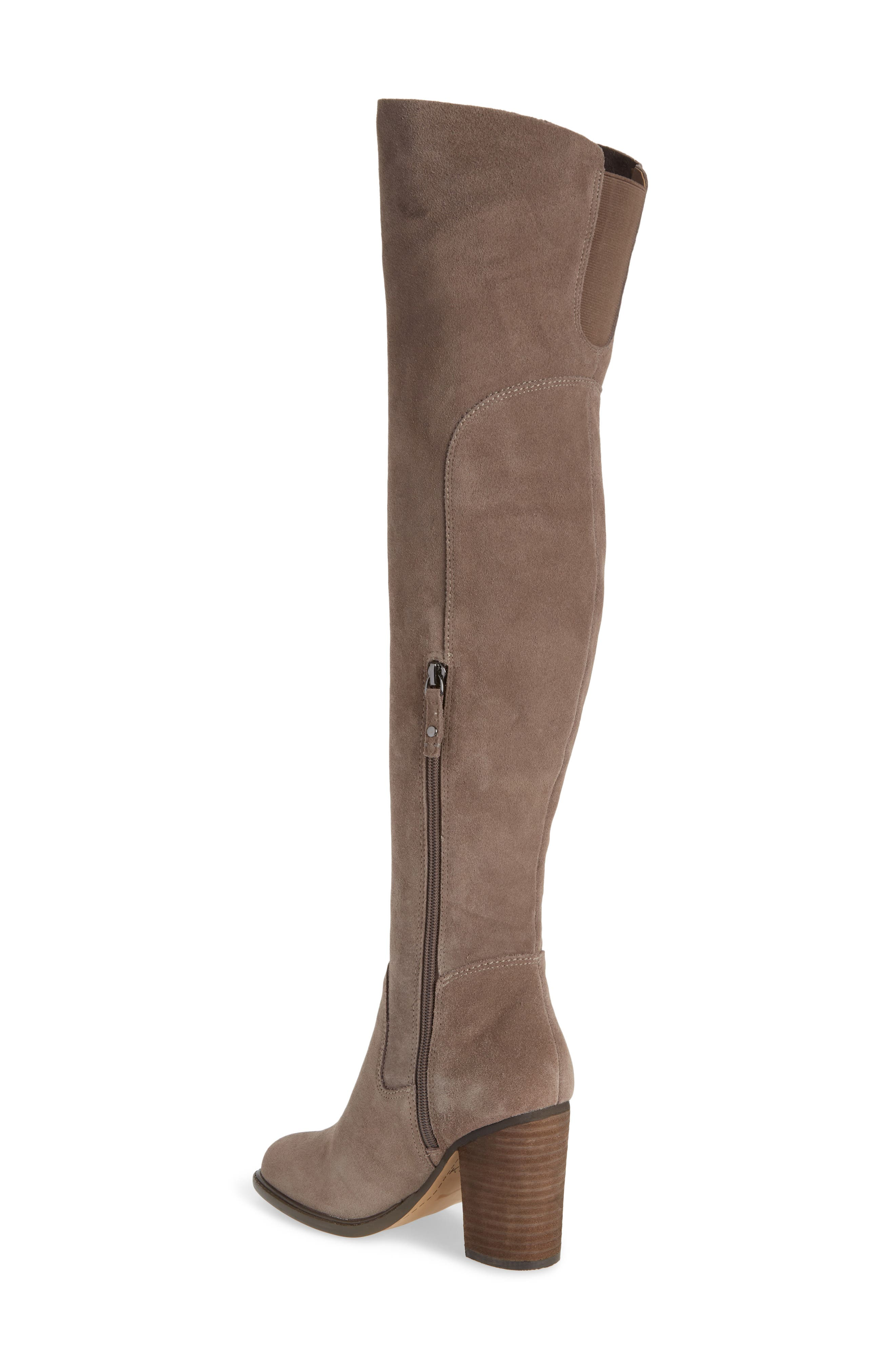 KELSI DAGGER BROOKLYN, Logan Over the Knee Boot, Alternate thumbnail 2, color, WARM GREY SUEDE
