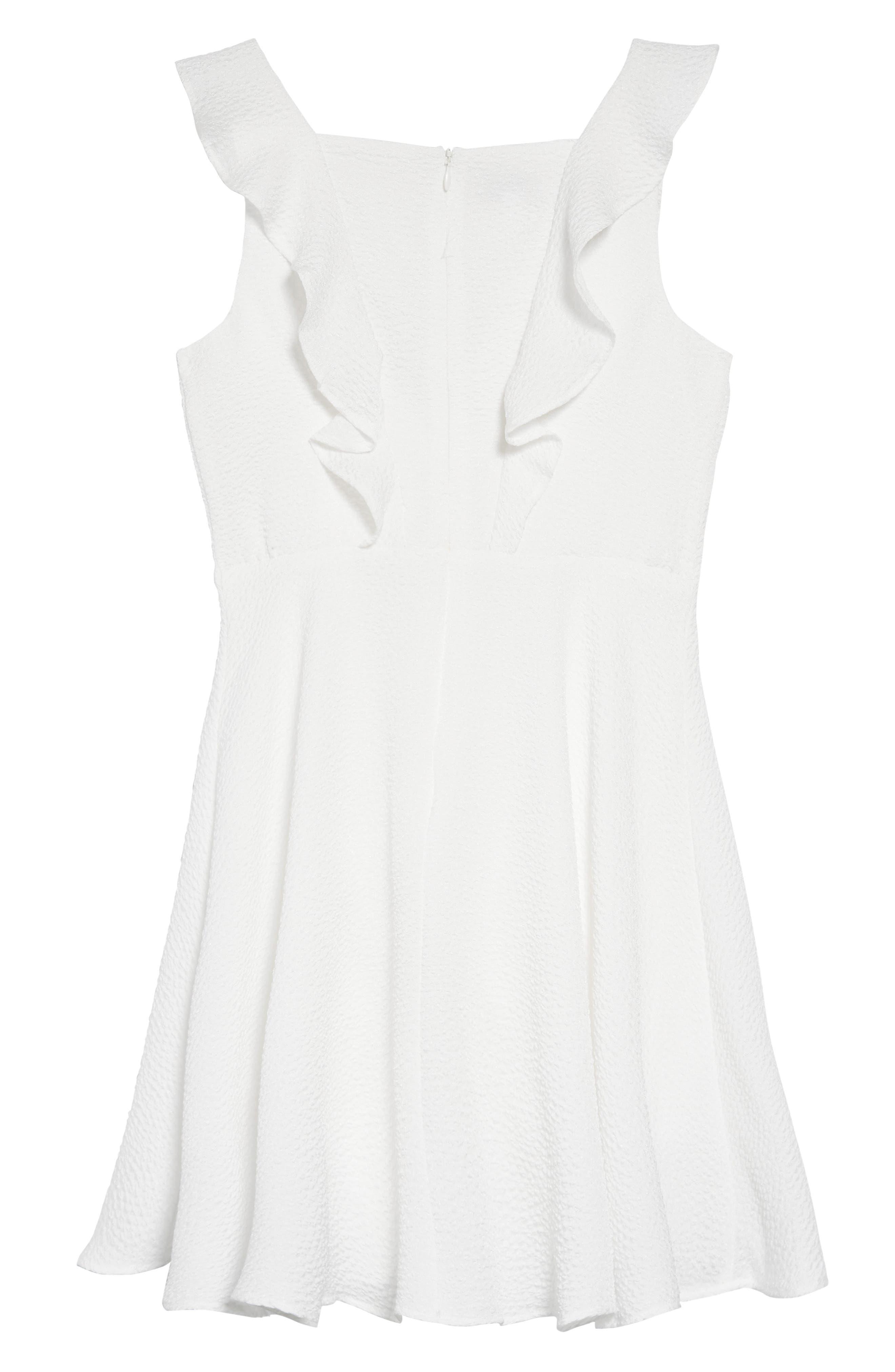PIPPA & JULIE, Flutter Sleeve Dress, Alternate thumbnail 2, color, WHITE