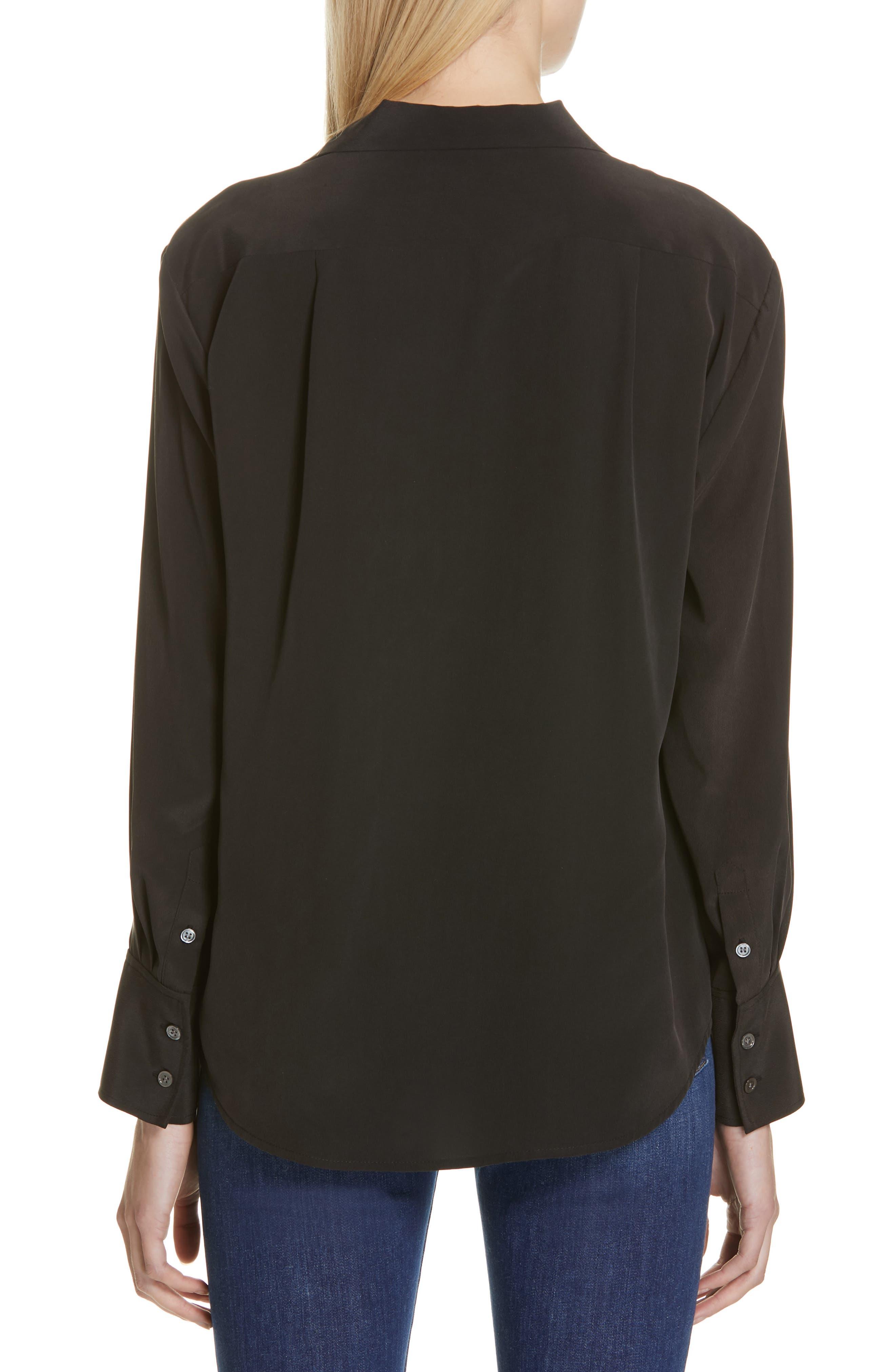 FRAME, Pocket Silk Blouse, Alternate thumbnail 2, color, BLACK