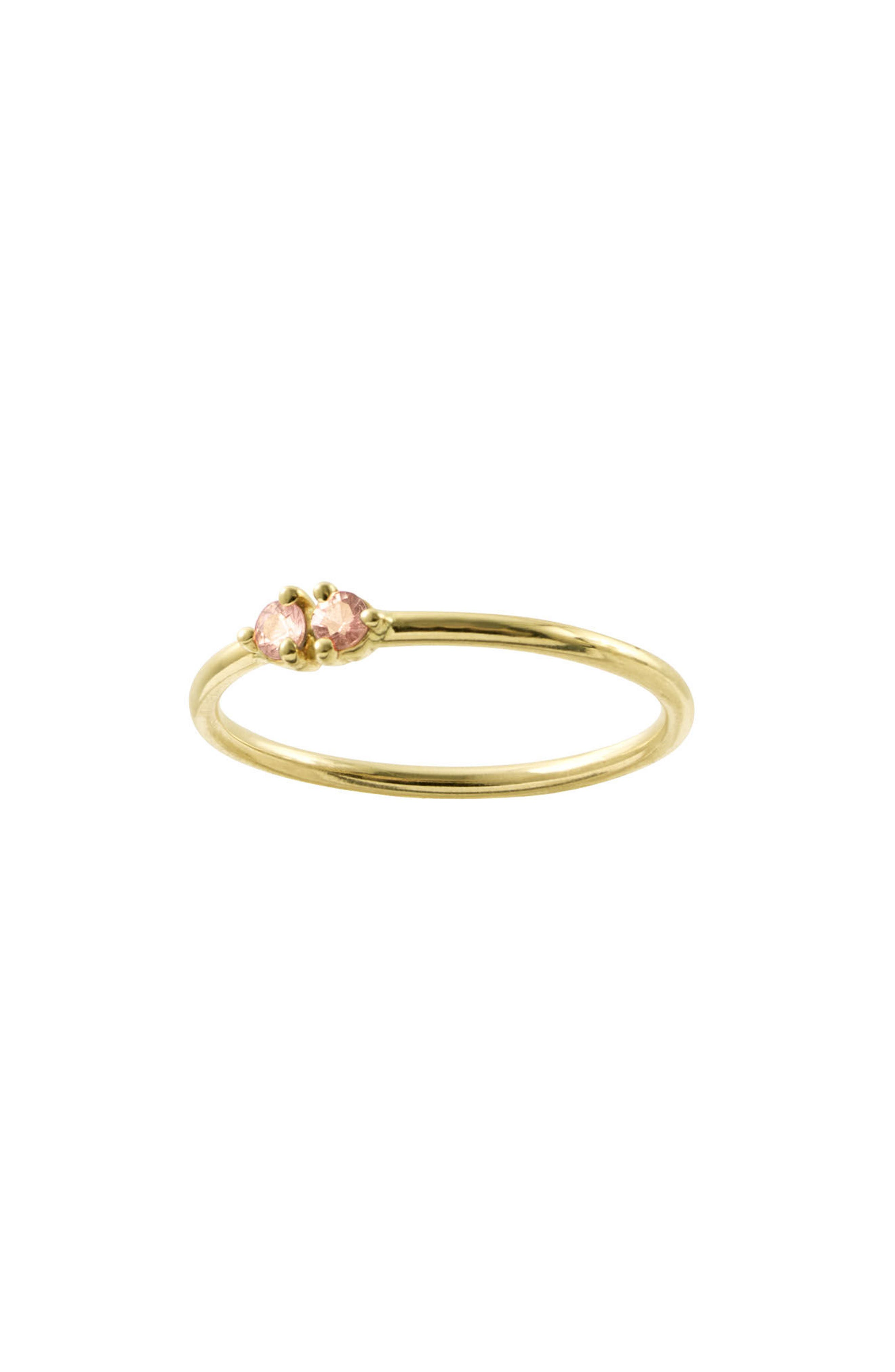 WWAKE, Double Stone Ring, Alternate thumbnail 2, color, PINK TOURMALINE