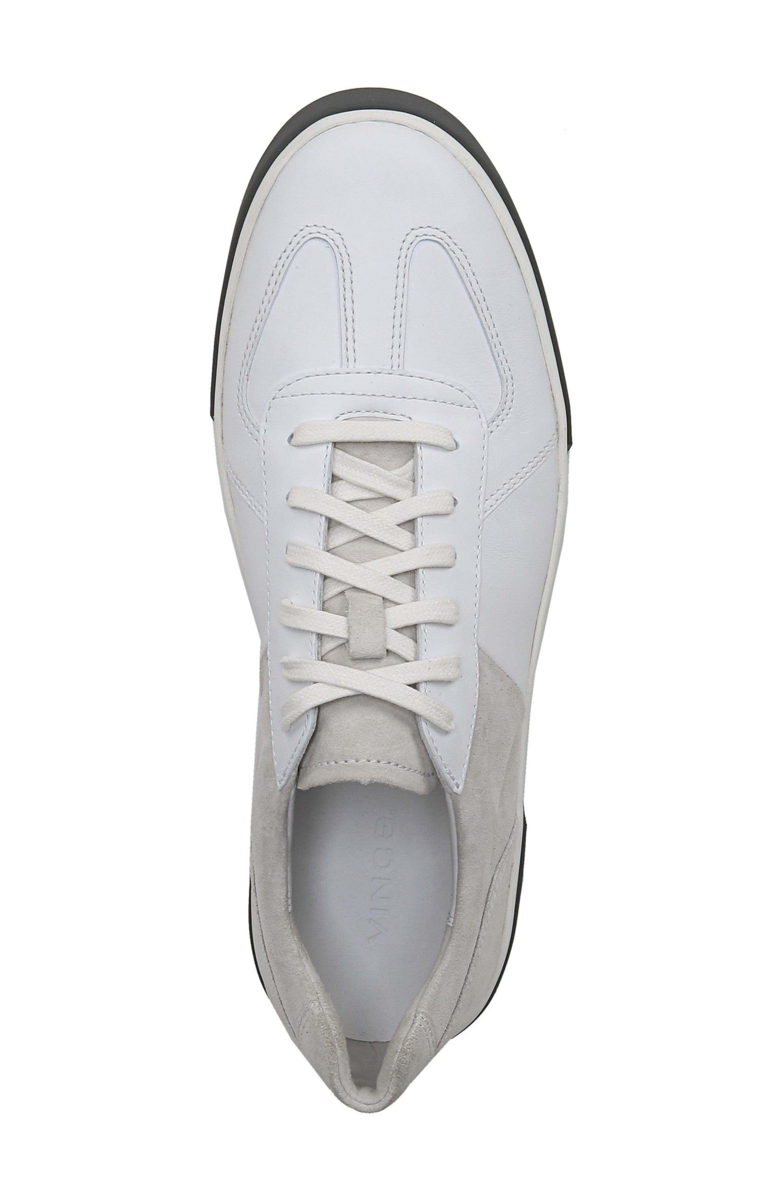 VINCE, Rogue Low Top Sneaker, Alternate thumbnail 4, color, WHITE/ HORCHATA